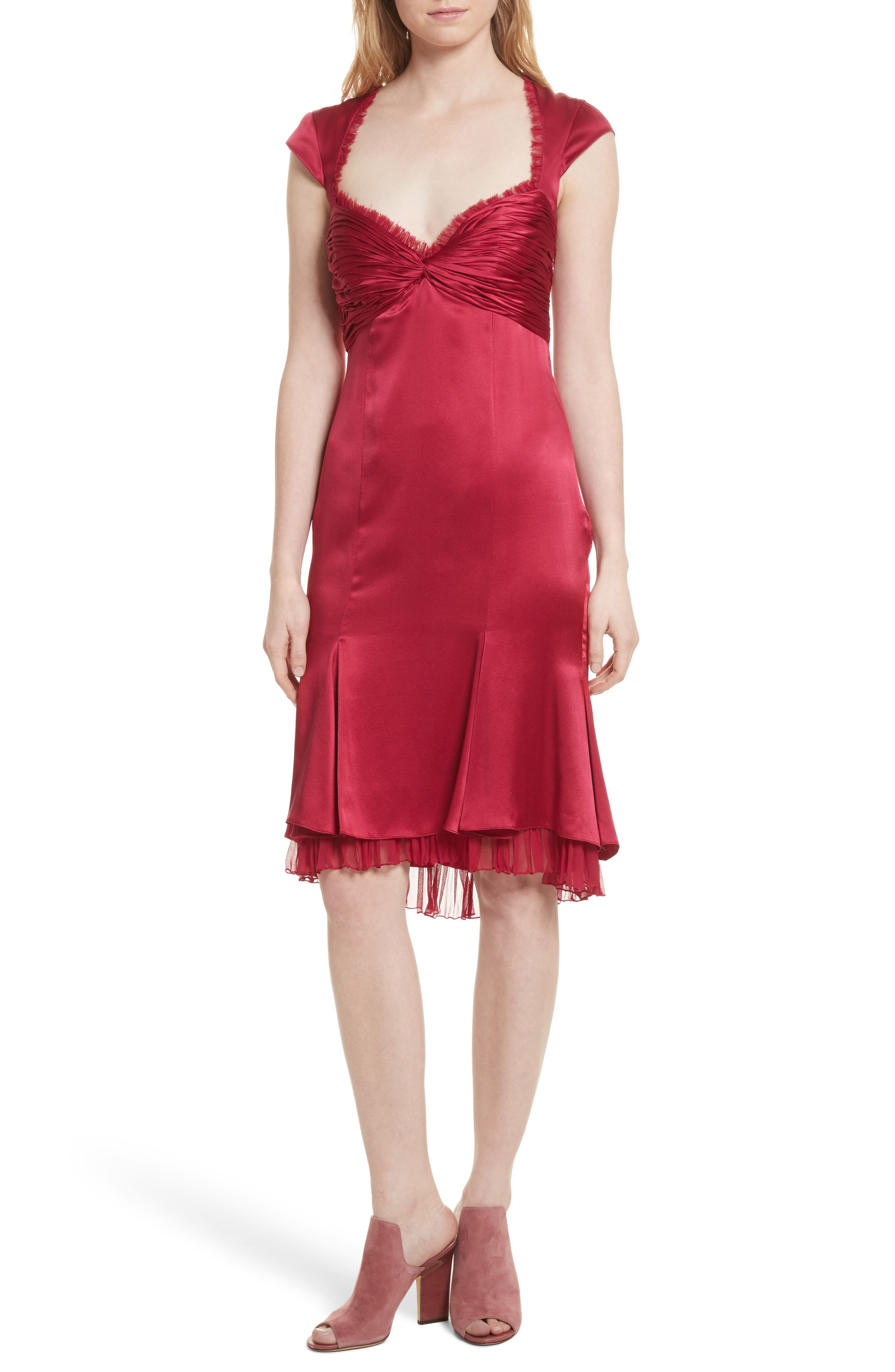 Marnie Satin Dress,                         Main,                         color, Cerise