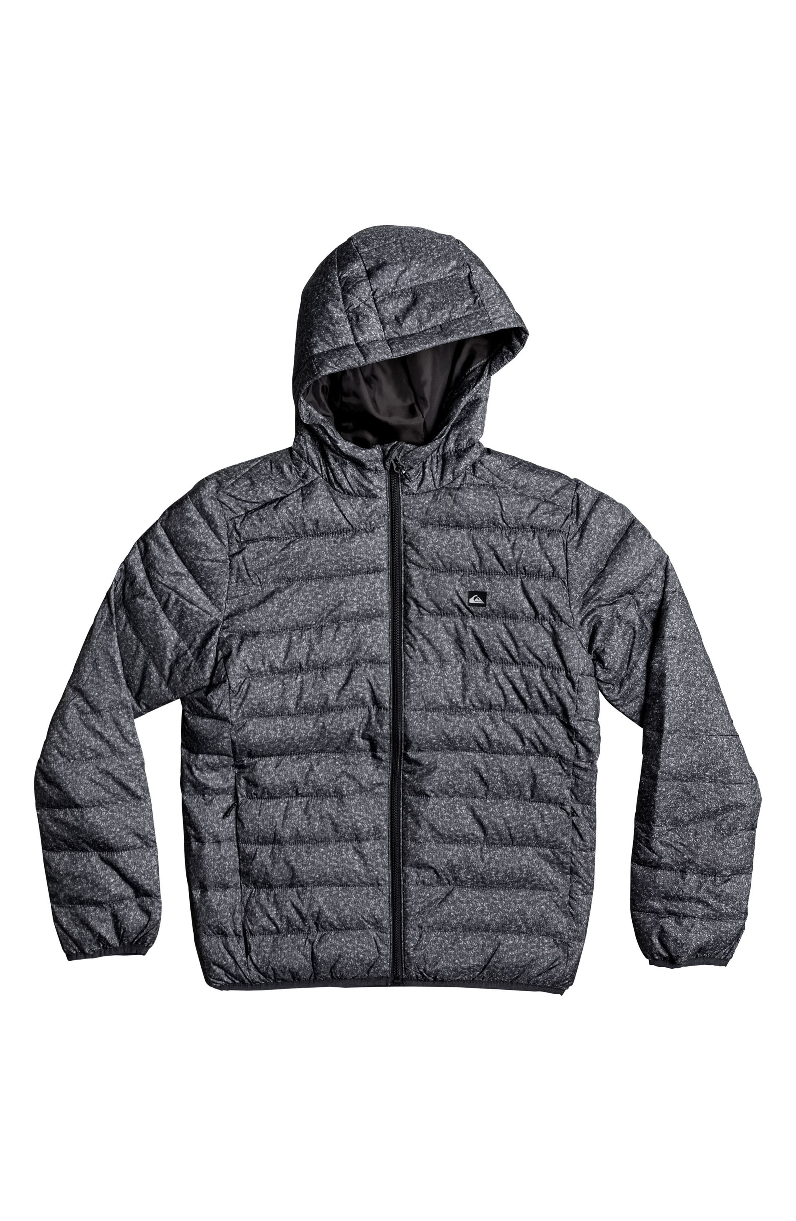 Scaly Water Resistant Hooded Puffer Jacket,                             Main thumbnail 1, color,                             Dark Grey Heather Scaly