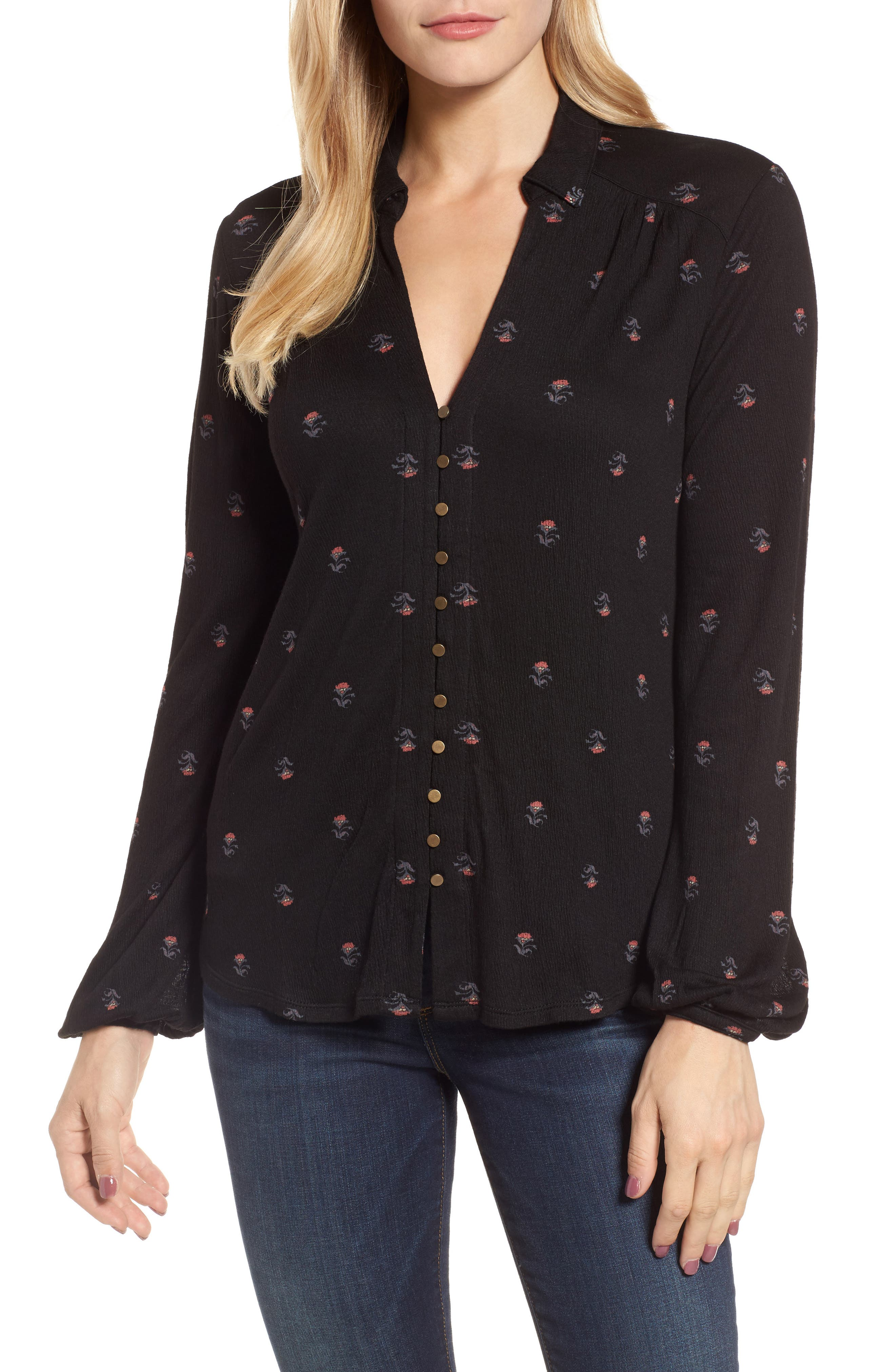 Ditsy Button-Up Shirt,                         Main,                         color, Black Multi