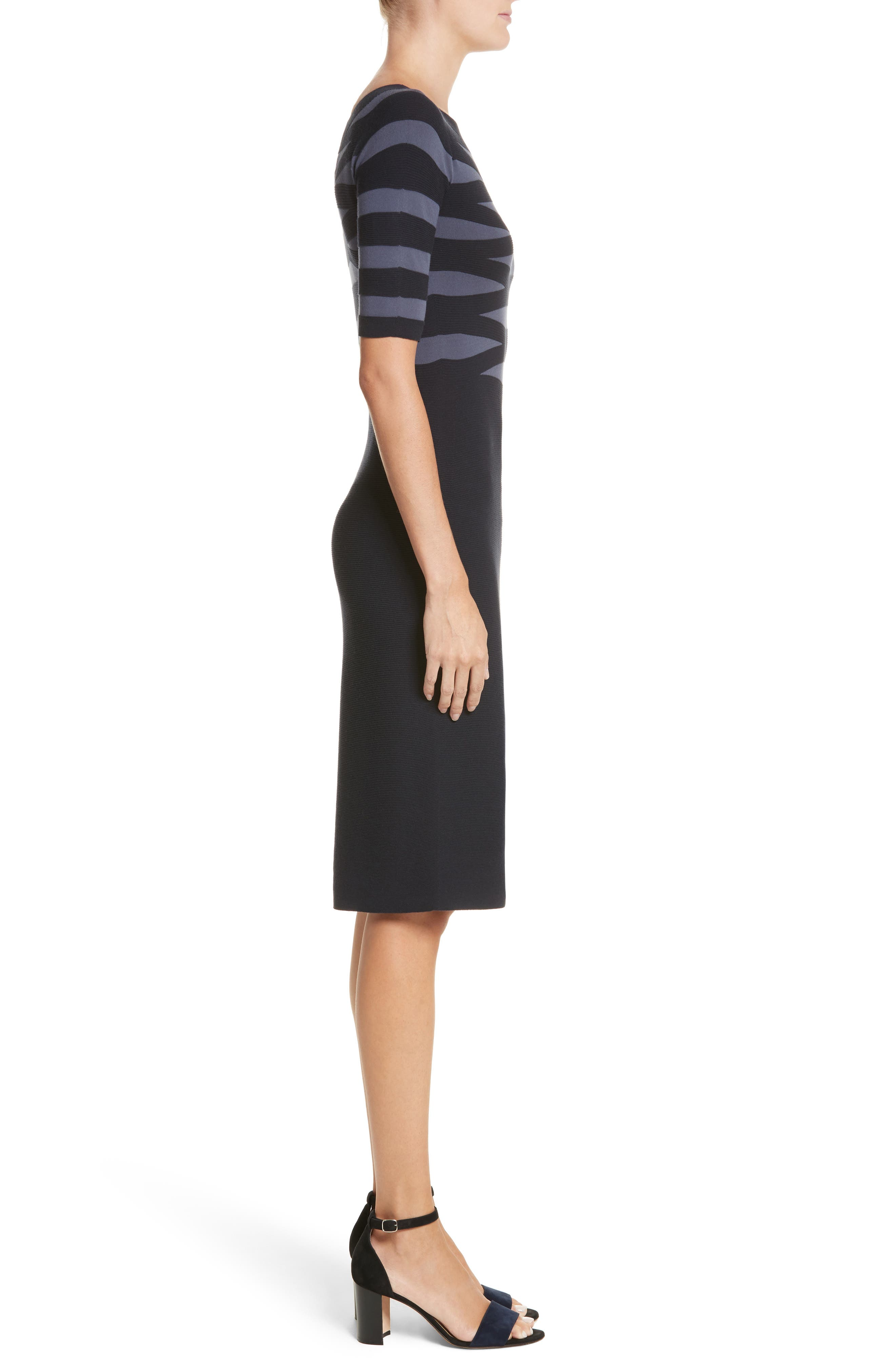 Graphic Stripe Knit Dress,                             Alternate thumbnail 3, color,                             Indigo Night