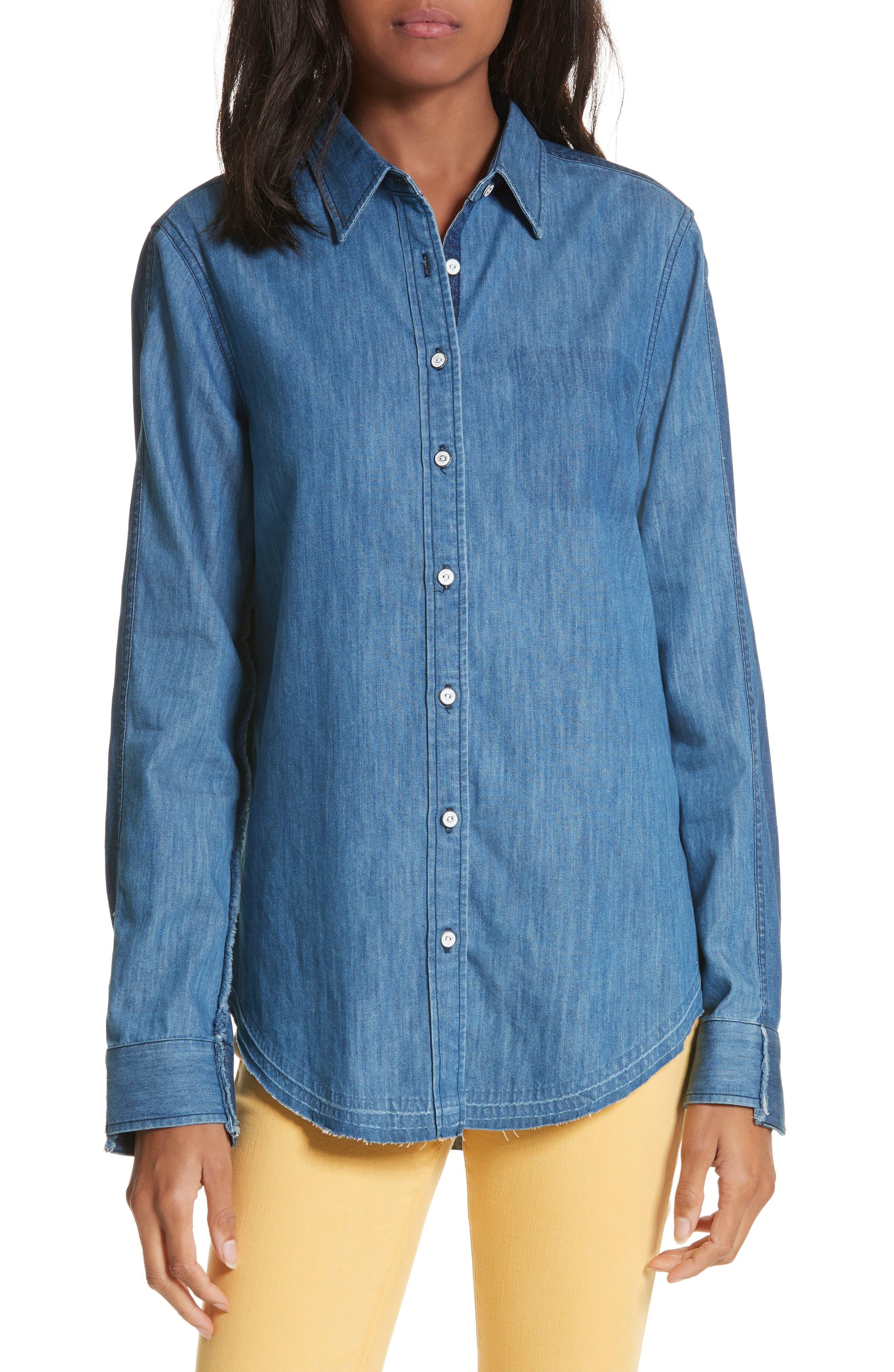 Destroyed Classic Denim Shirt,                         Main,                         color, Indigo