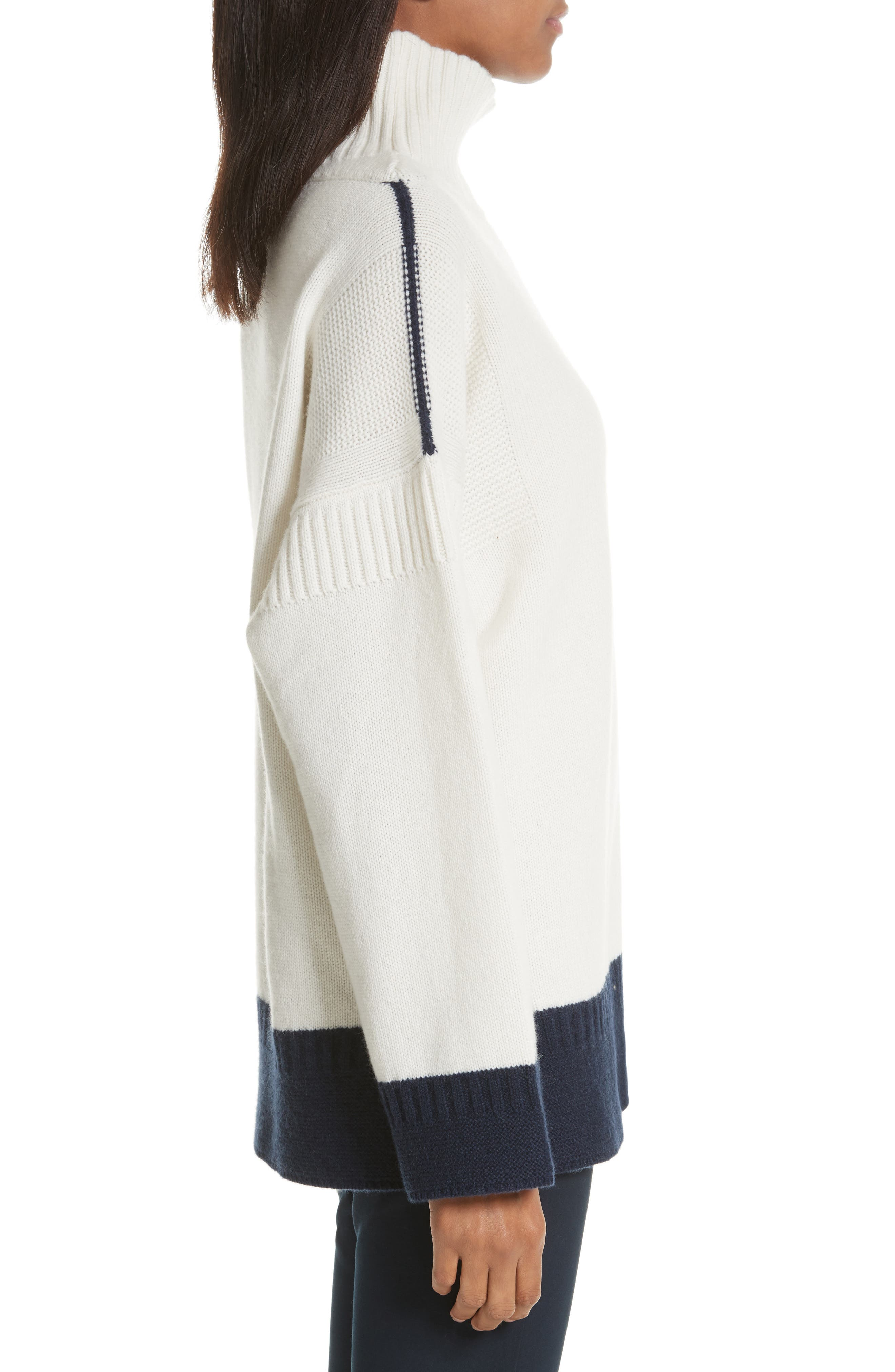 Aubree Funnel Neck Cashmere Sweater,                             Alternate thumbnail 3, color,                             Ivory/Navy