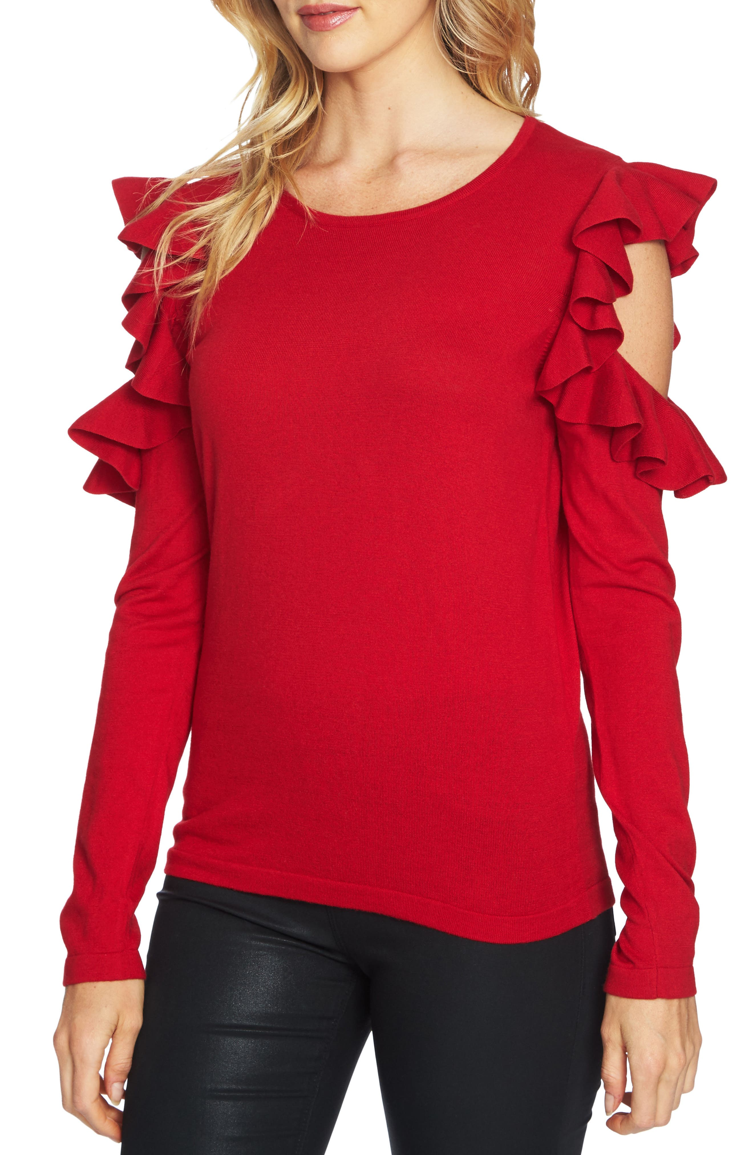 CeCe Ruffled Cold Shoulder Sweater