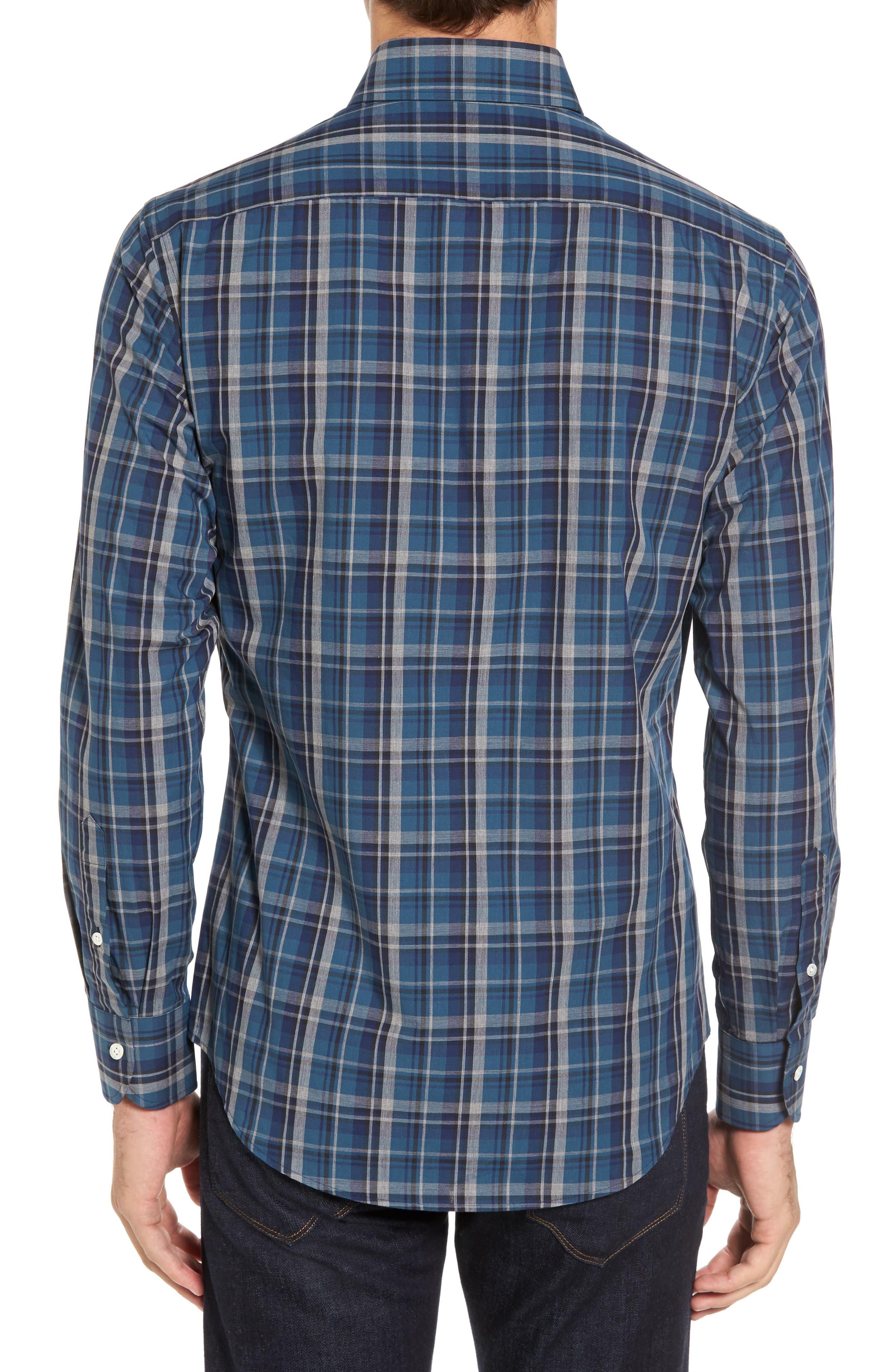 Slim Fit Plaid Sport Shirt,                             Alternate thumbnail 2, color,                             Dark Blue