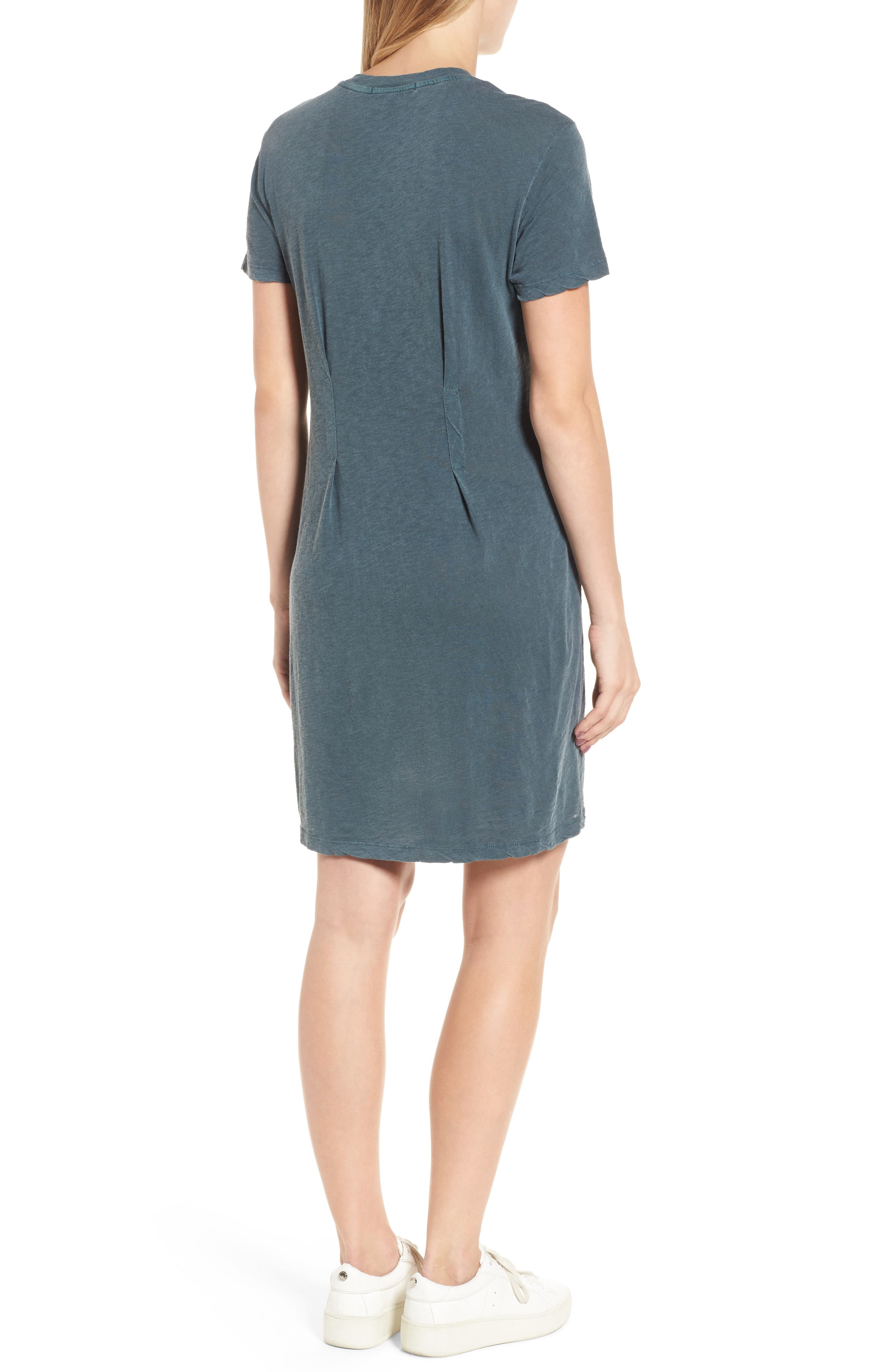 Pleat T-Shirt Dress,                             Alternate thumbnail 2, color,                             Pine