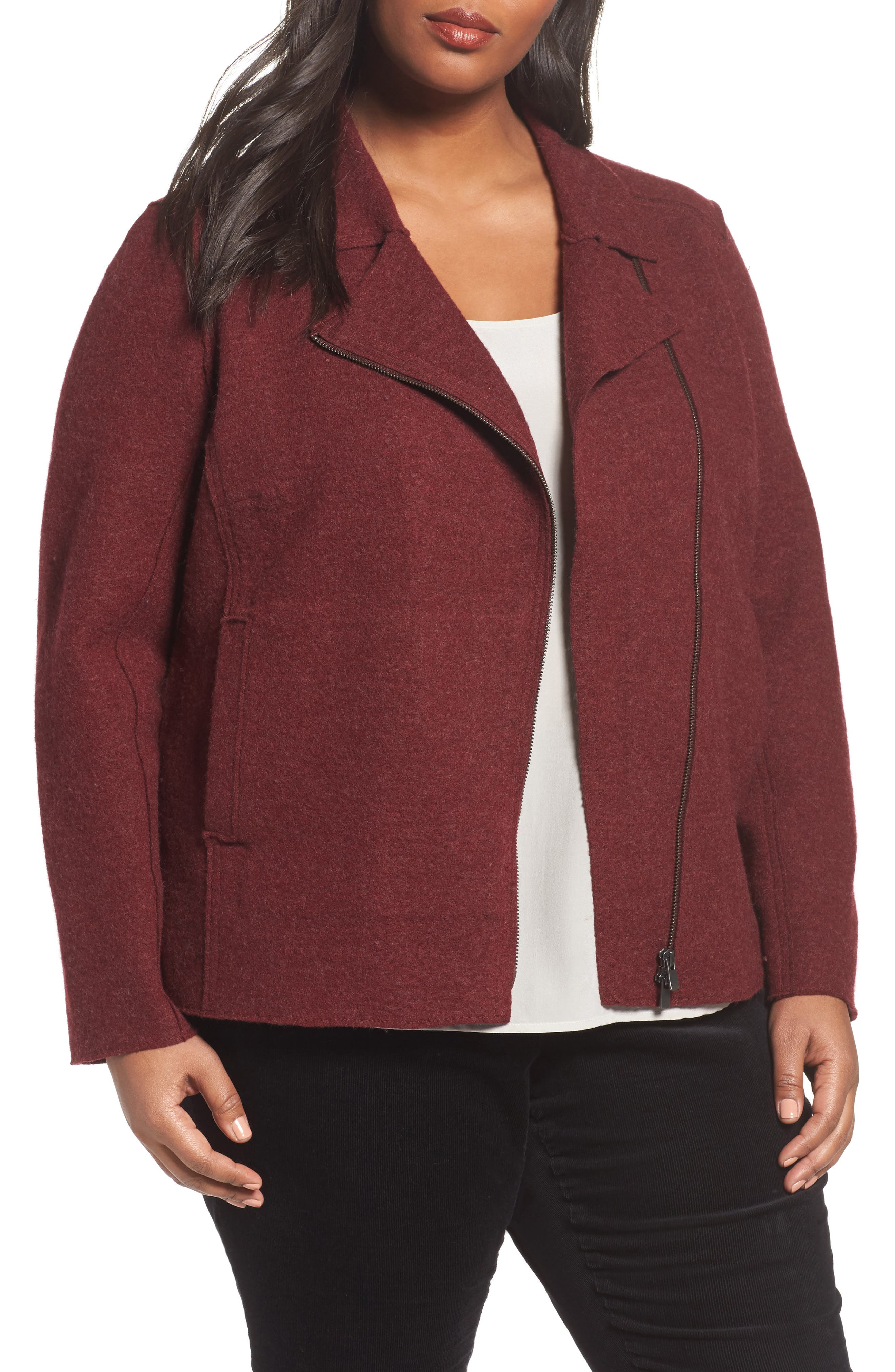 Boiled Wool Moto Jacket,                         Main,                         color, Red