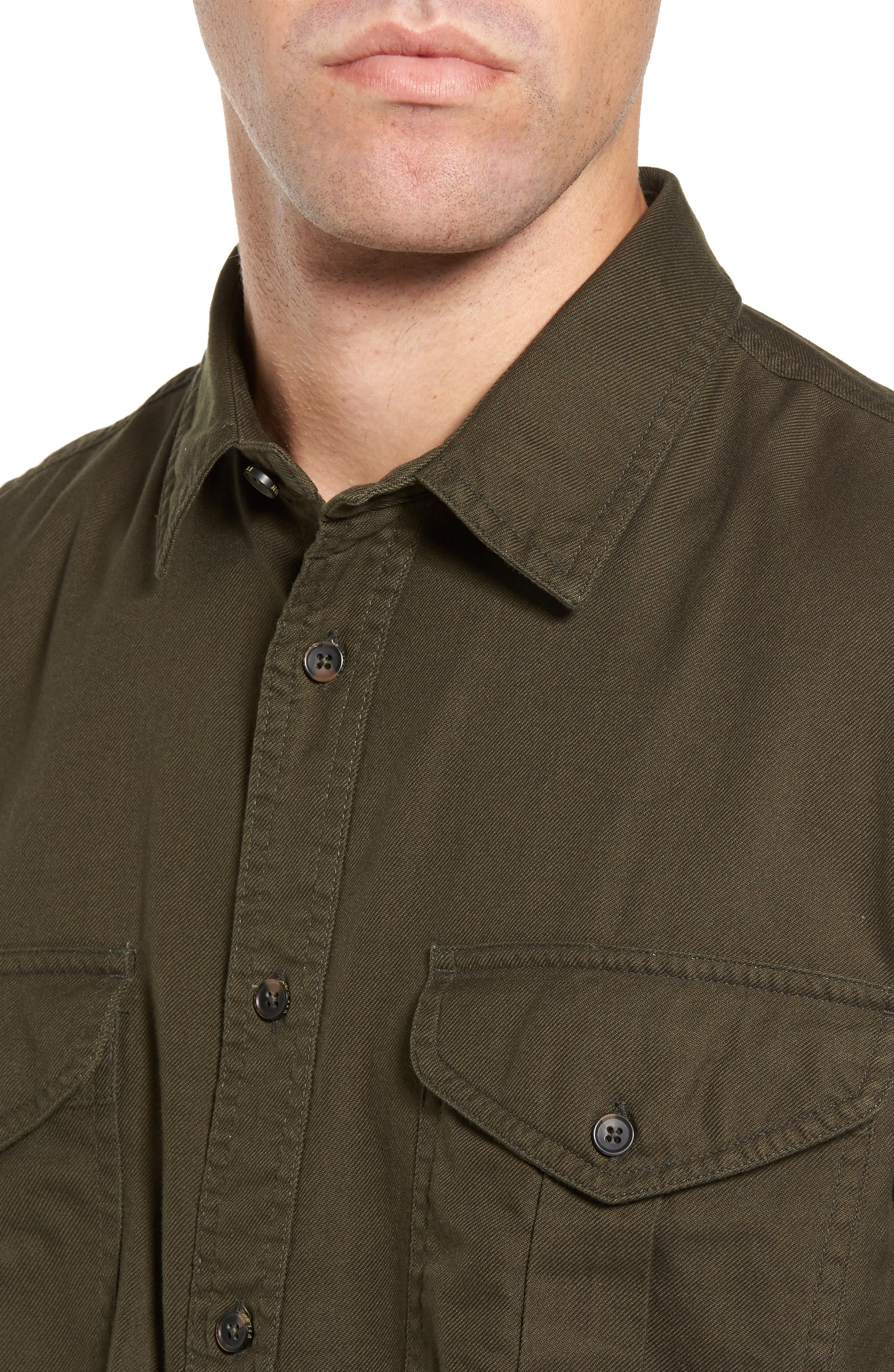 Alaskan Guide Regular Fit Twill Shirt,                             Alternate thumbnail 4, color,                             Brunswick Green