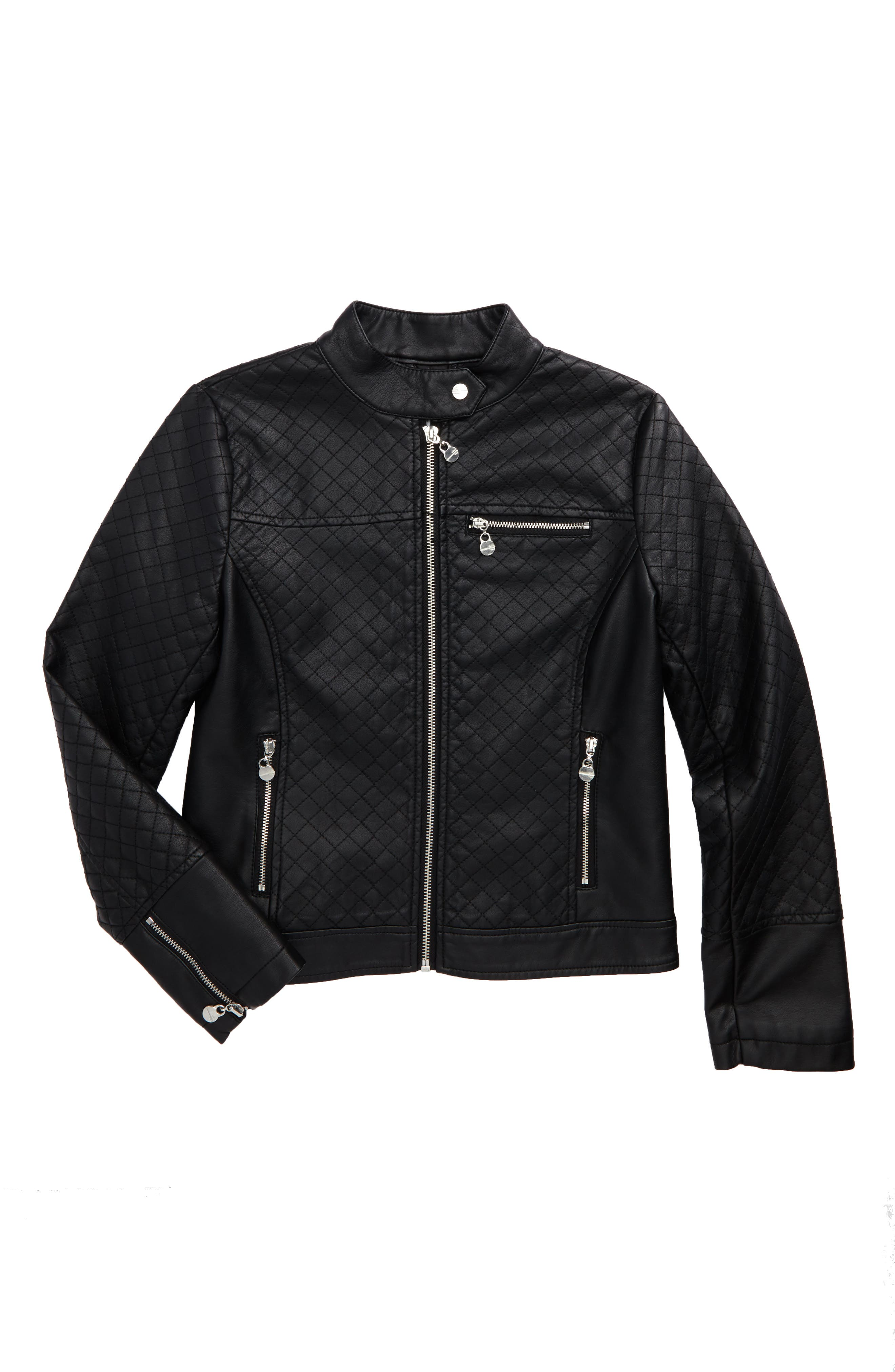Quilted Faux Leather Jacket,                         Main,                         color, Black