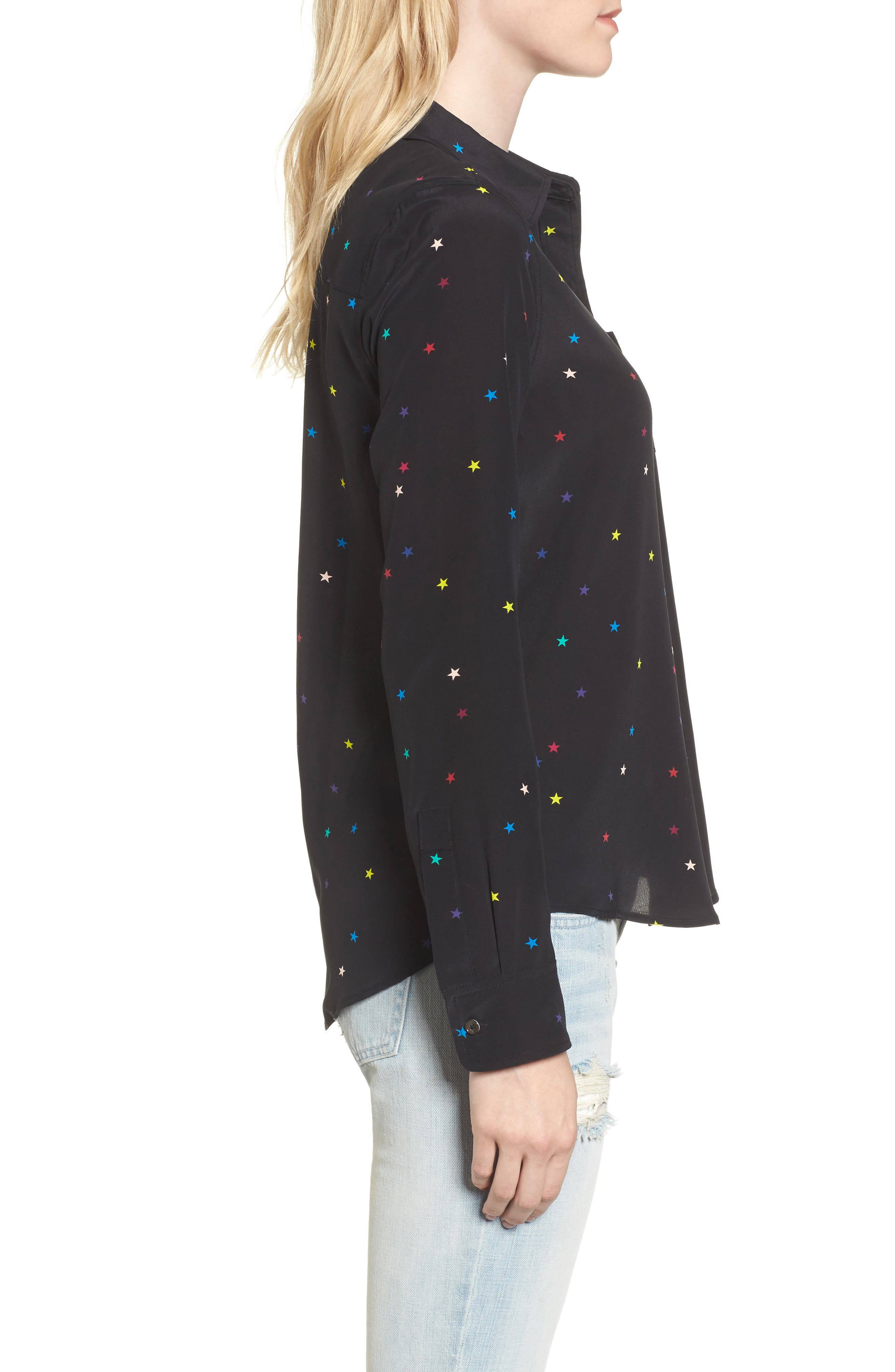 Kate Star Print Silk Blouse,                             Alternate thumbnail 3, color,                             Rainbow Stars/ Black