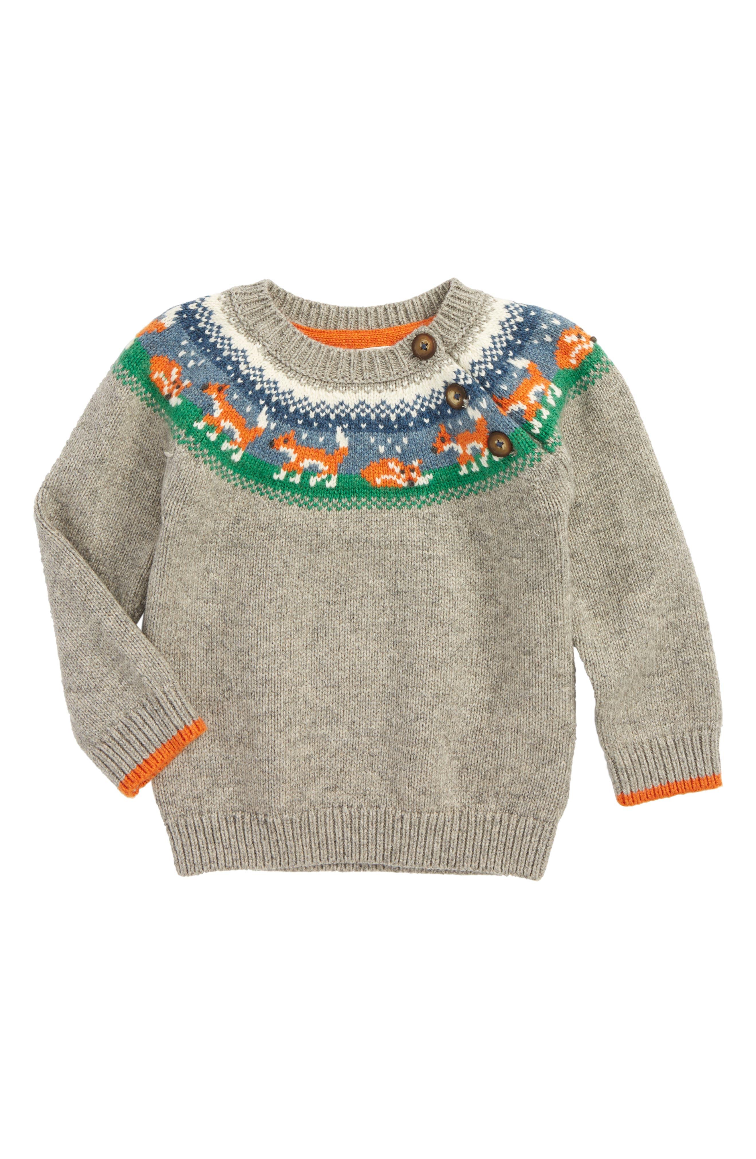 Main Image - Mini Boden Fair Isle Sweater (Baby Boys & Toddler Boys)