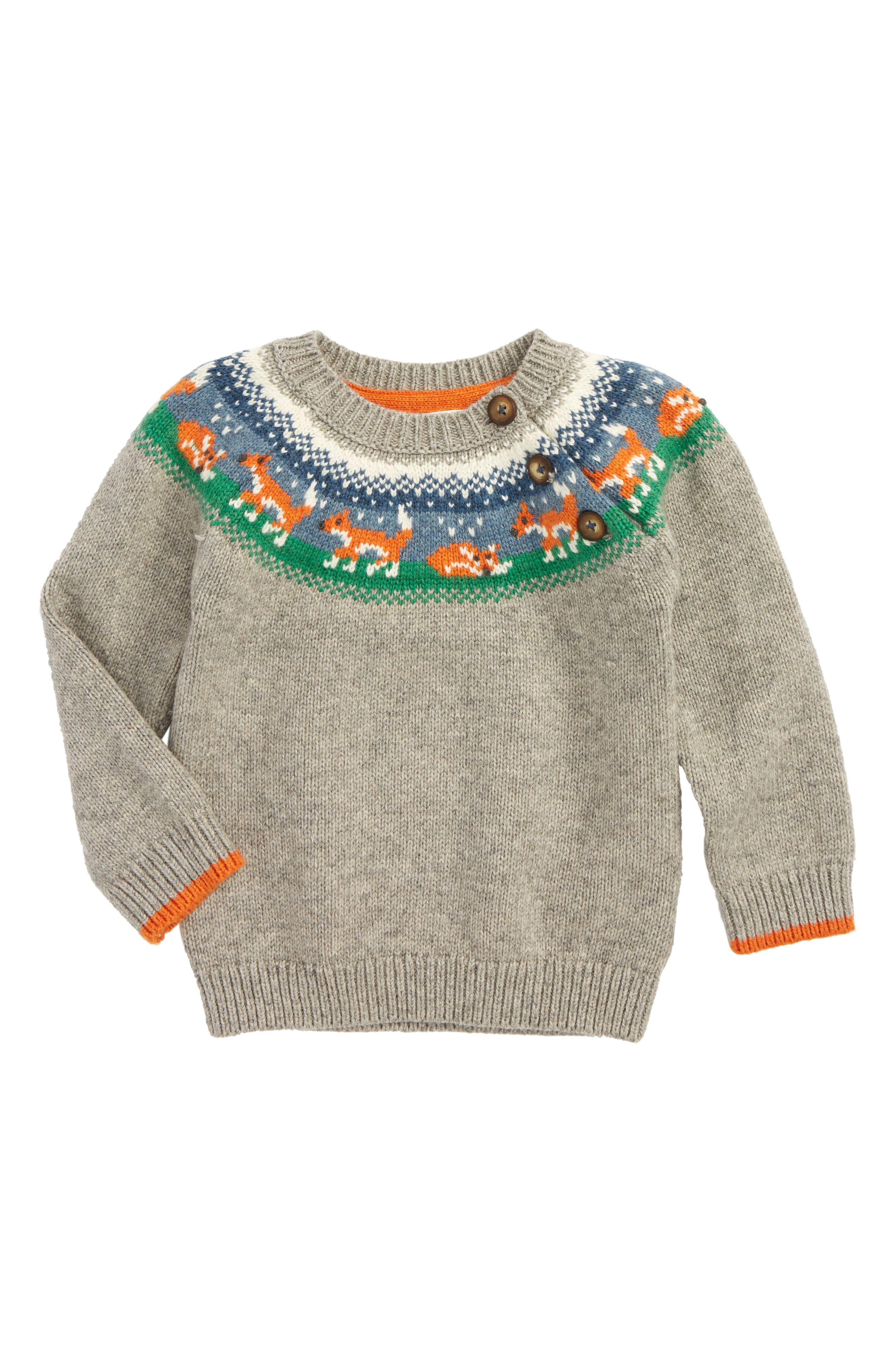 Fair Isle Sweater,                         Main,                         color, Grey Marl Fox