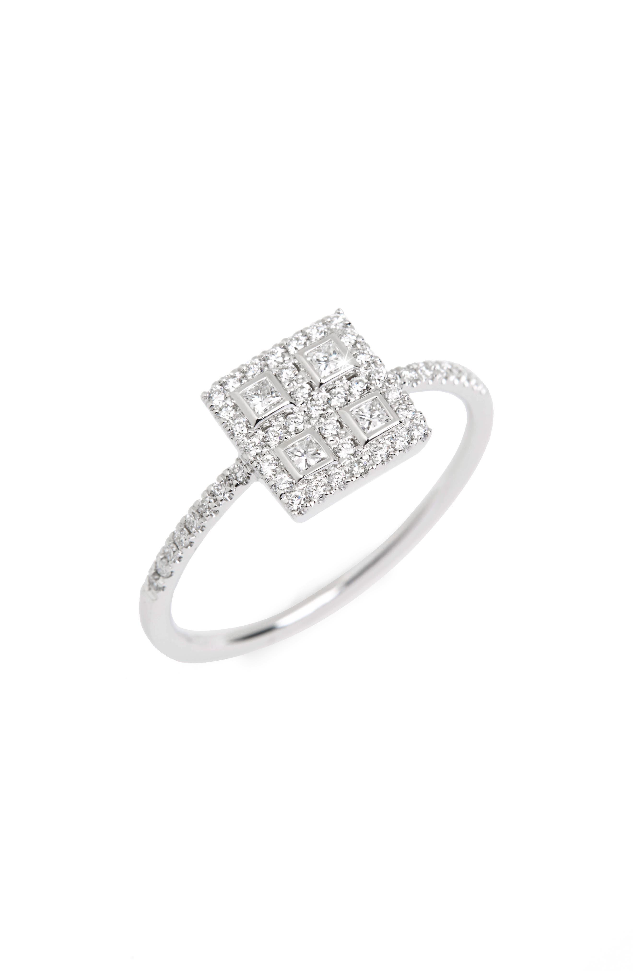 Amara Diamond Square Ring,                             Main thumbnail 1, color,                             White Gold