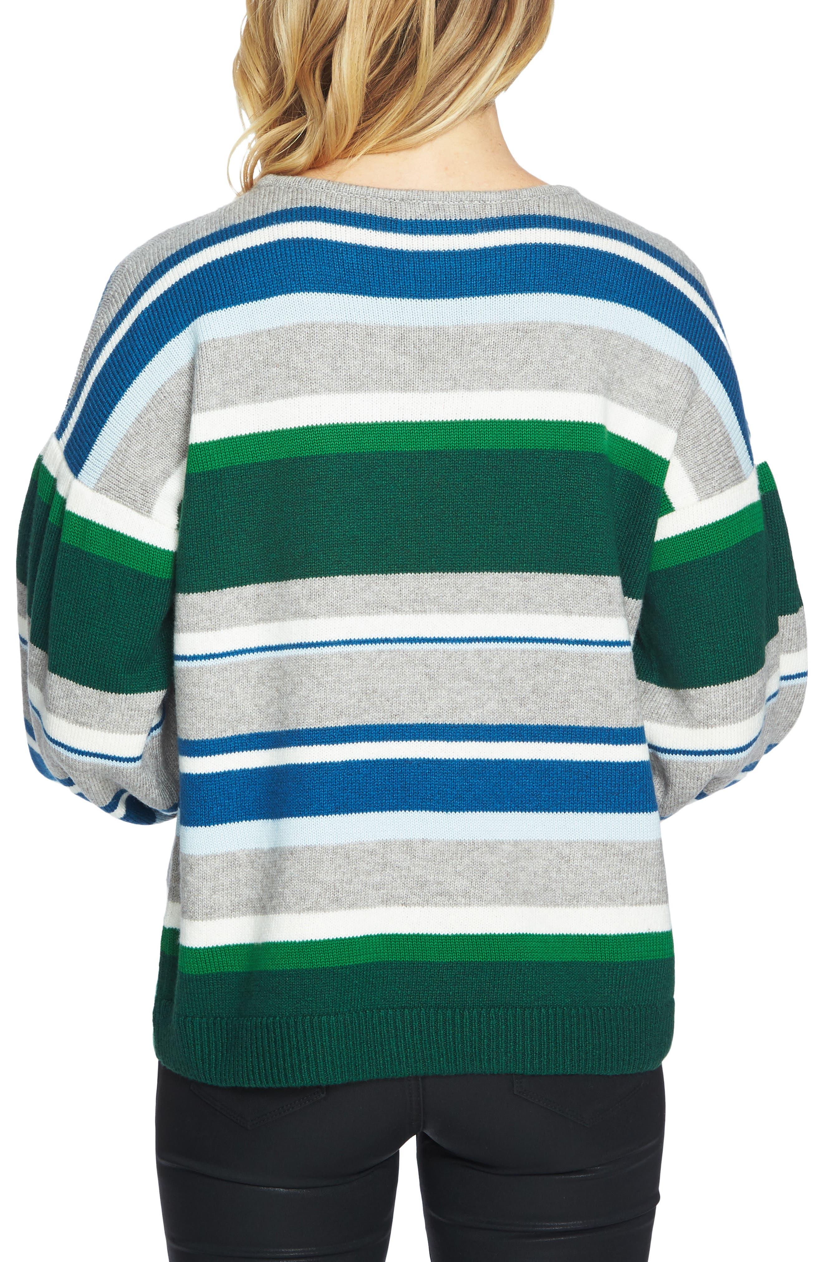 Stripe Balloon Sleeve Sweater,                             Alternate thumbnail 2, color,                             Light Heather Grey