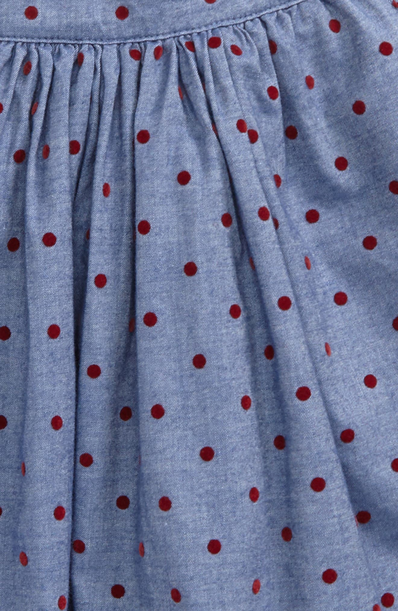 Pretty Twirly Skirt,                             Alternate thumbnail 2, color,                             Chambray/ Ladybird Red Spot