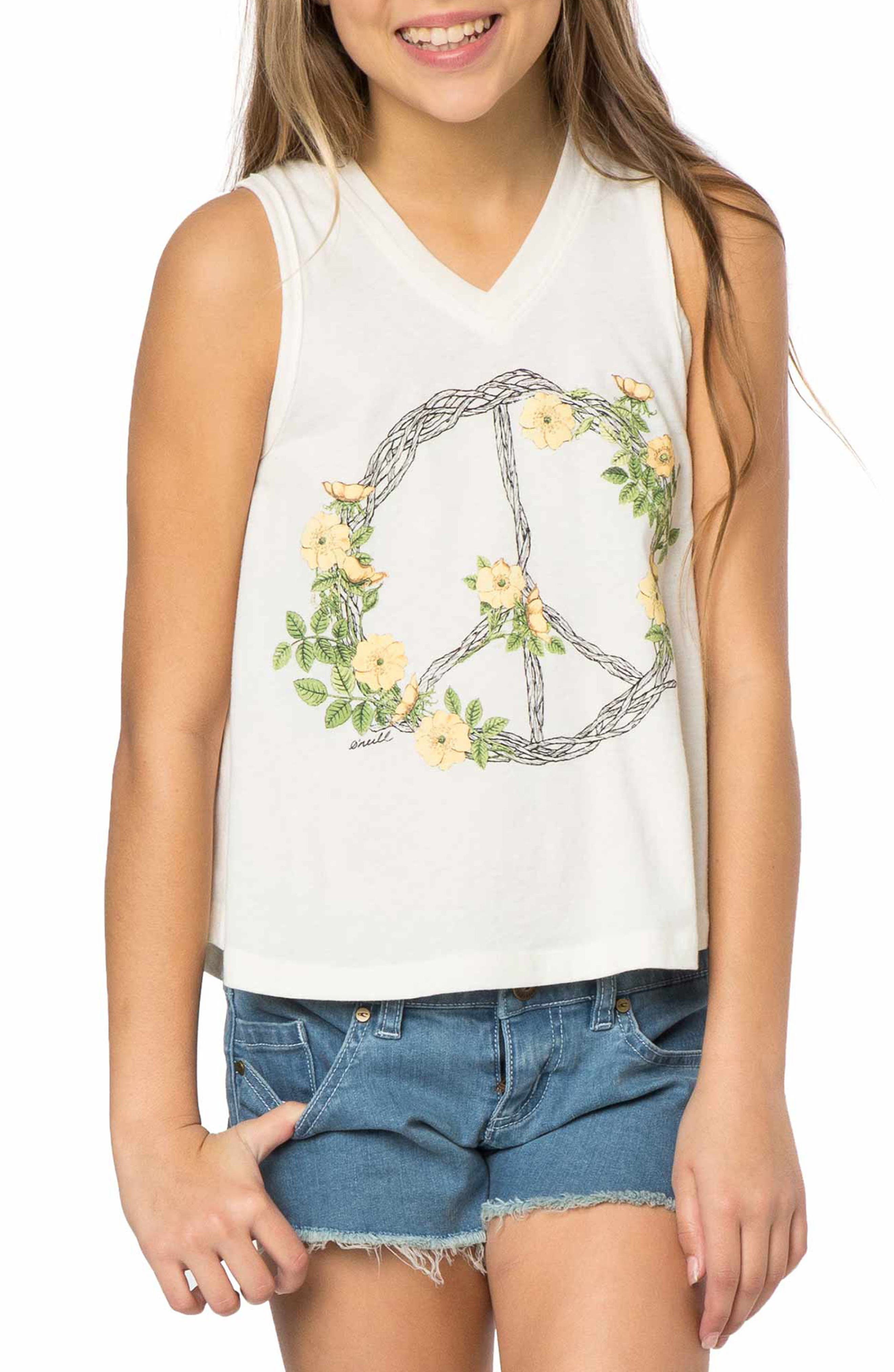 O'Neill Peace Wreath Graphic Tank (Big Girls)