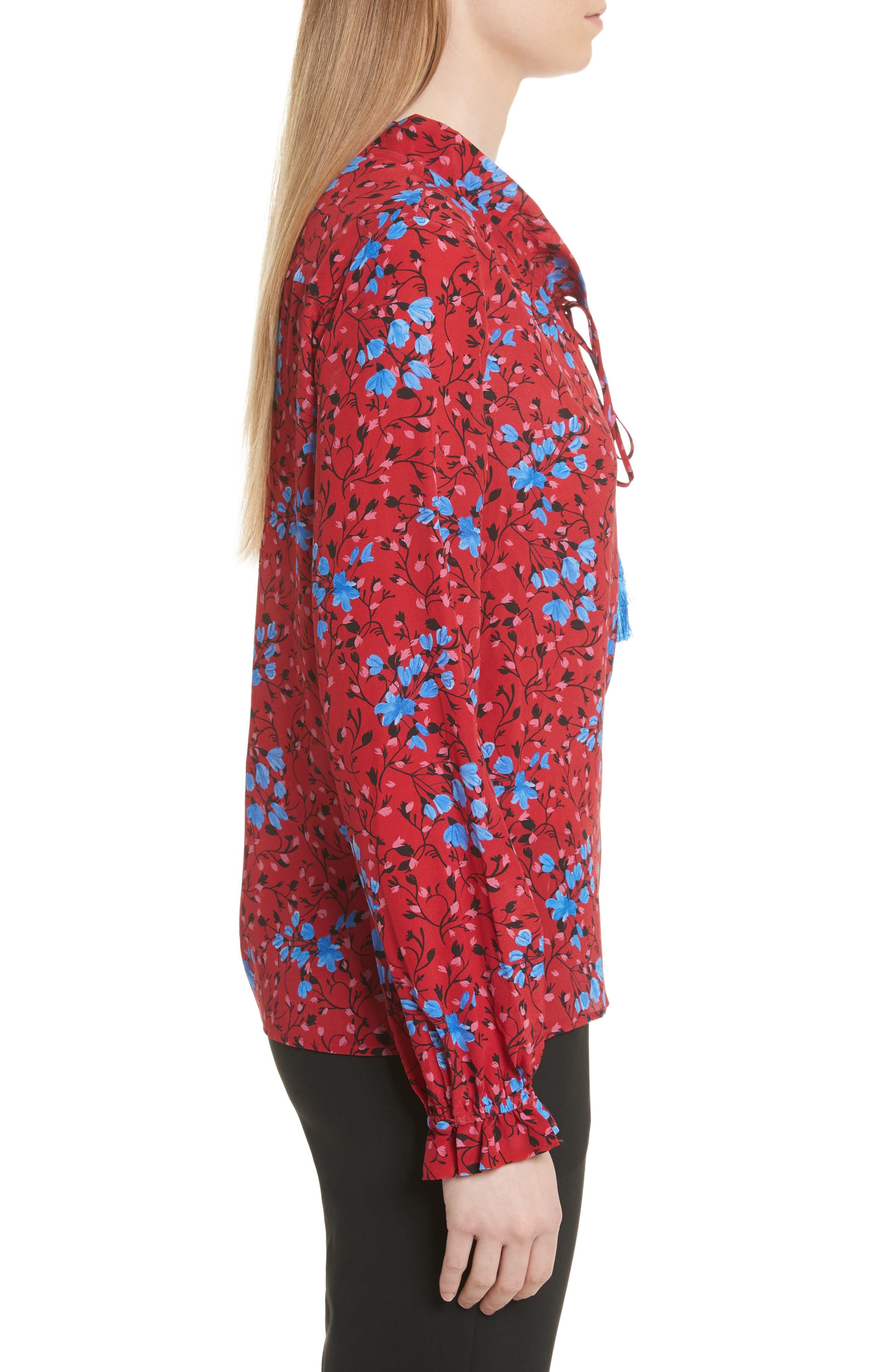Ali Floral Print Silk Top,                             Alternate thumbnail 3, color,                             Scarlet Posey