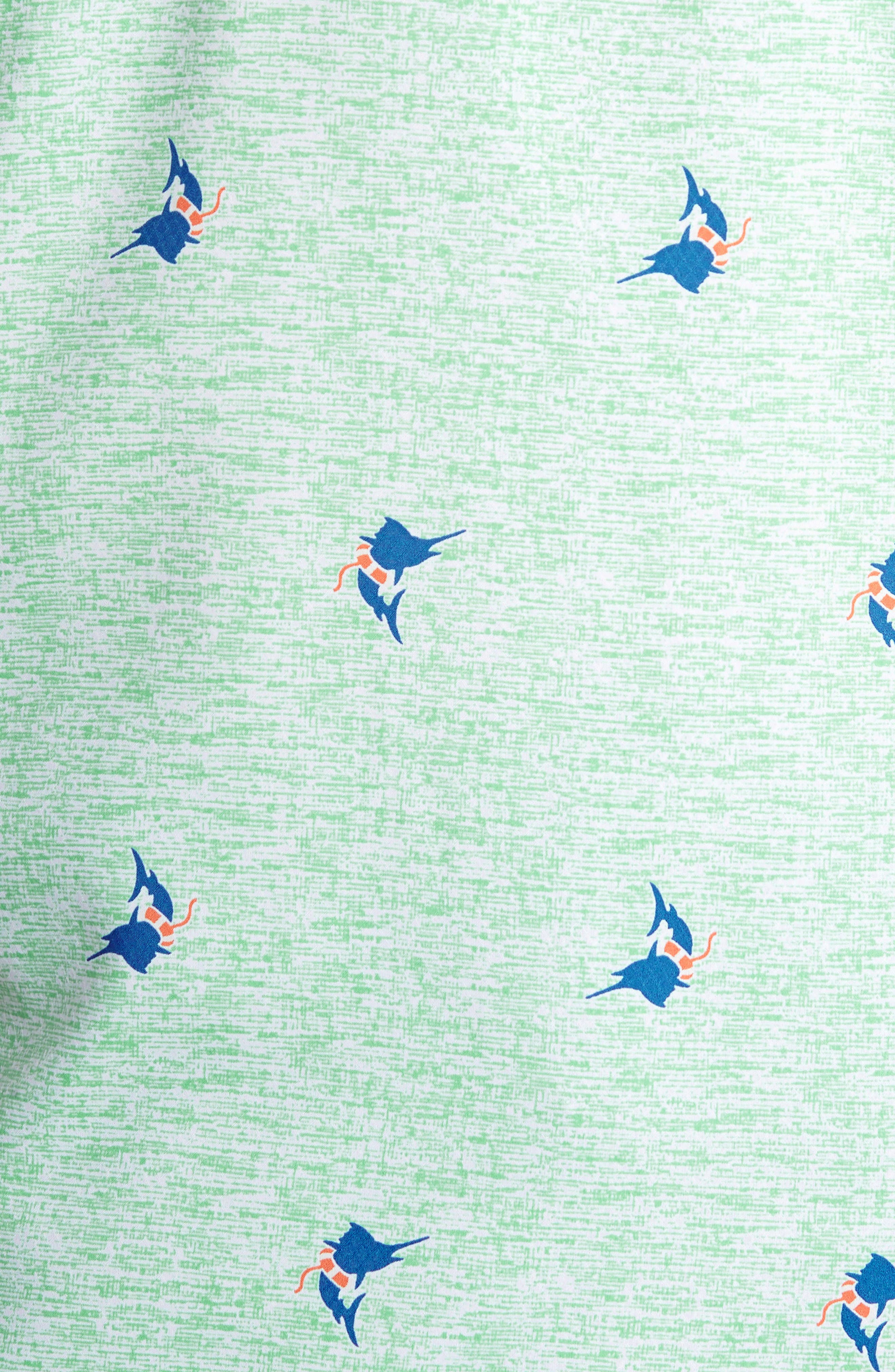 Super Slack Tide Patterned Woven Shirt,                             Alternate thumbnail 5, color,                             Kelp Marlin Print
