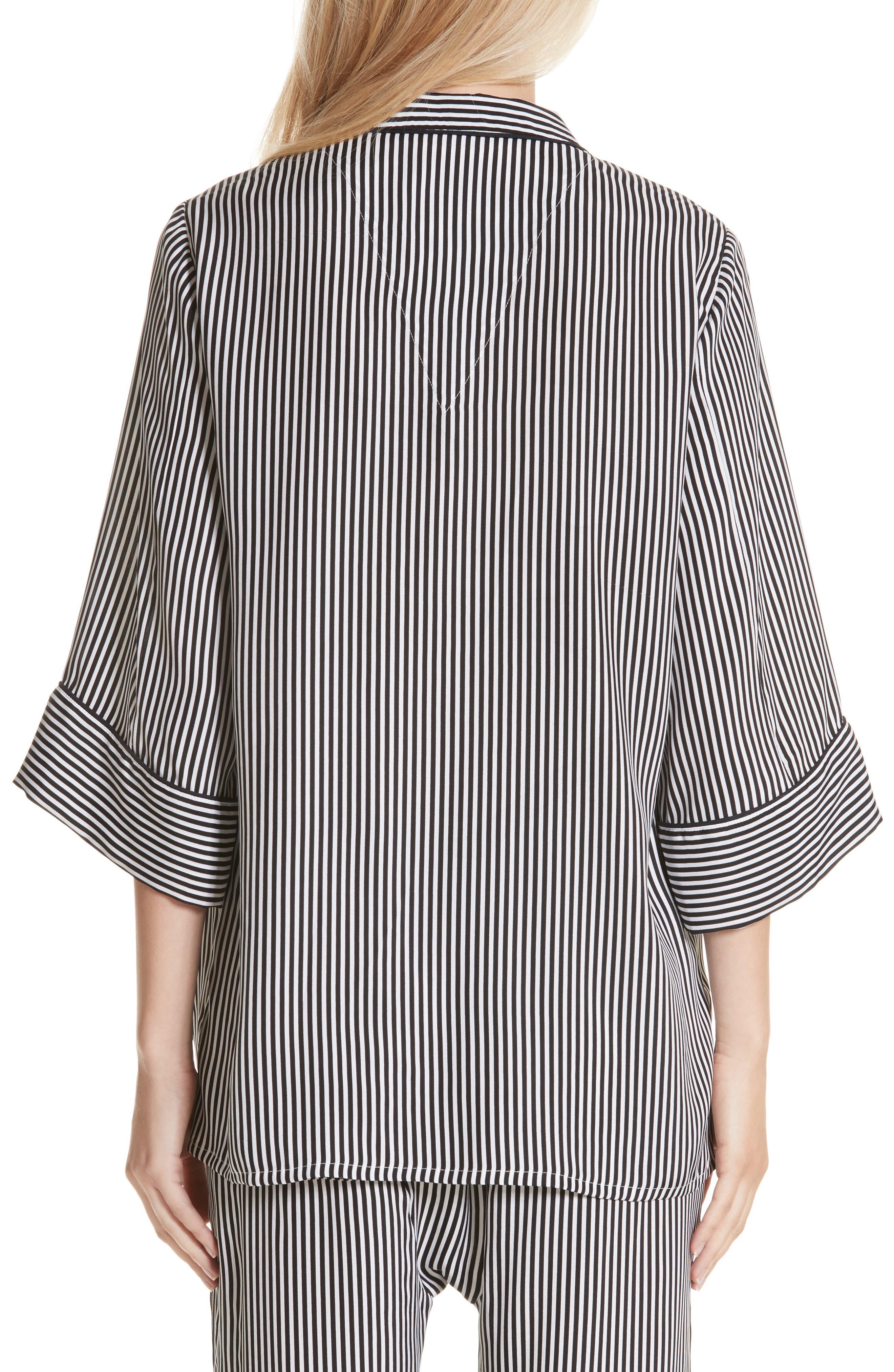 Pencil Stripe Silk Sleeper Shirt,                             Alternate thumbnail 5, color,                             Pencil Stripe