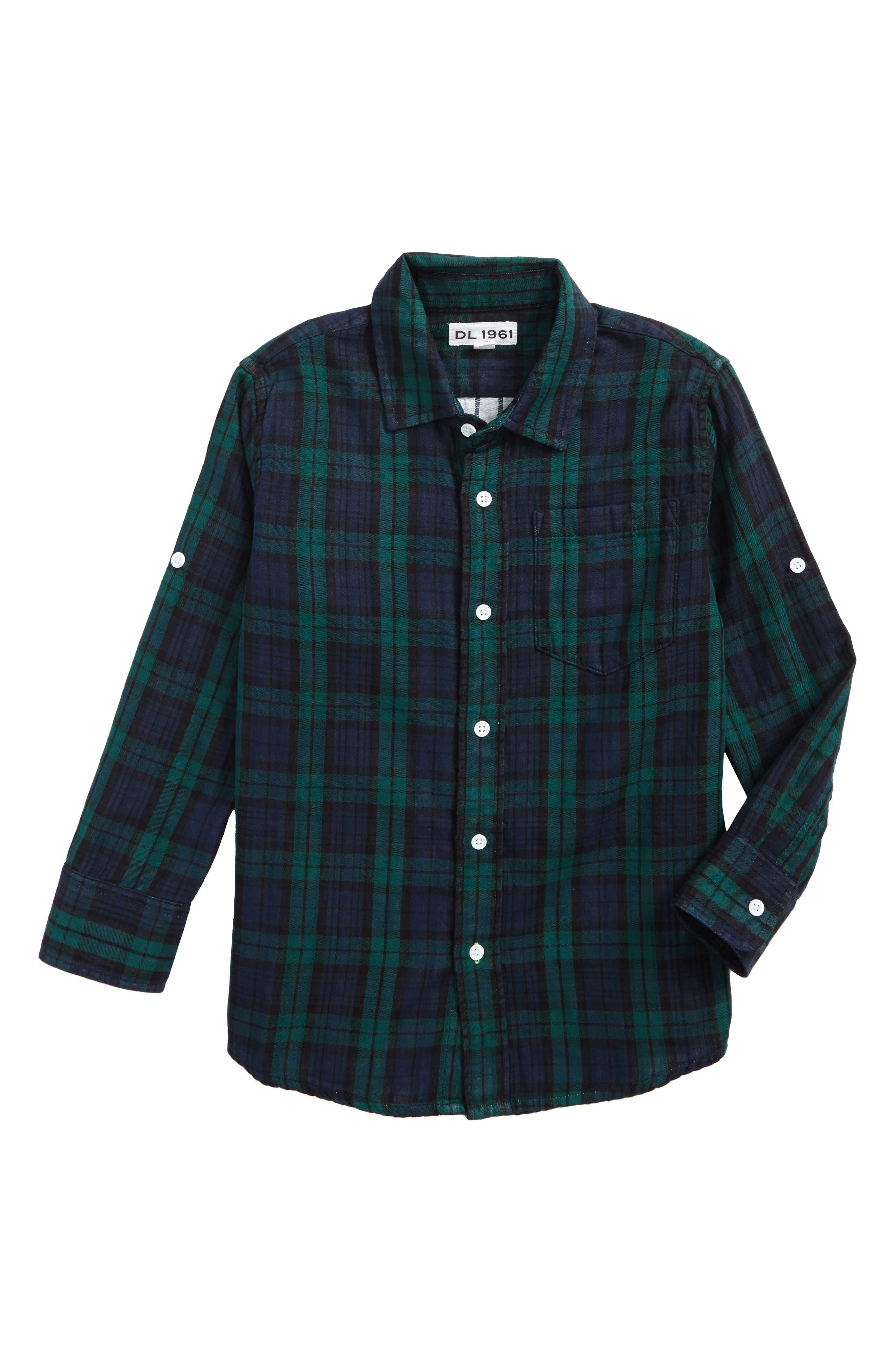 Plaid Woven Shirt,                             Main thumbnail 1, color,                             Green Double Faced Plaid