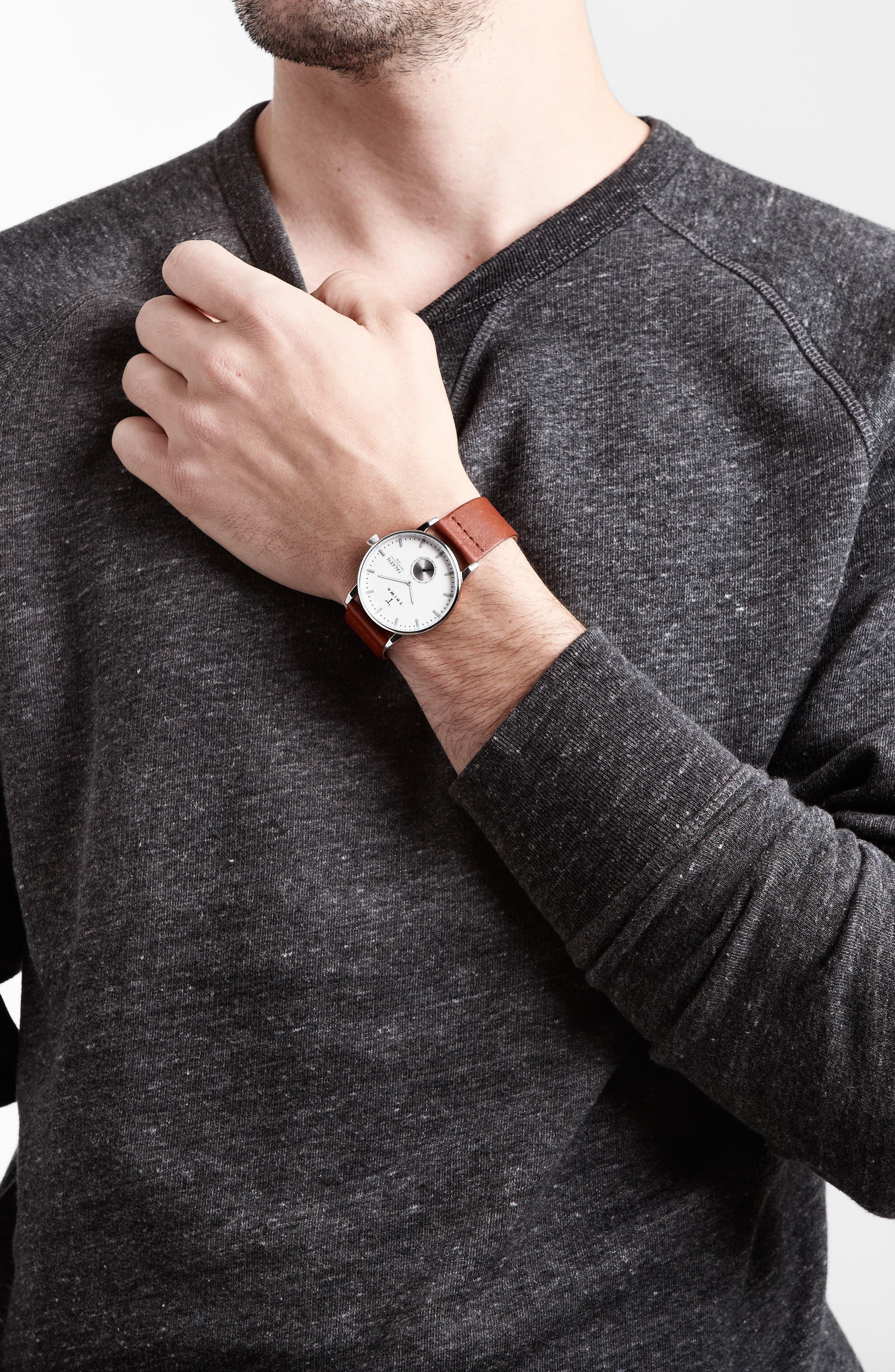 Ivory Falken Organic Leather Strap Watch, 38mm,                             Alternate thumbnail 3, color,                             Cognac/ Silver/ White
