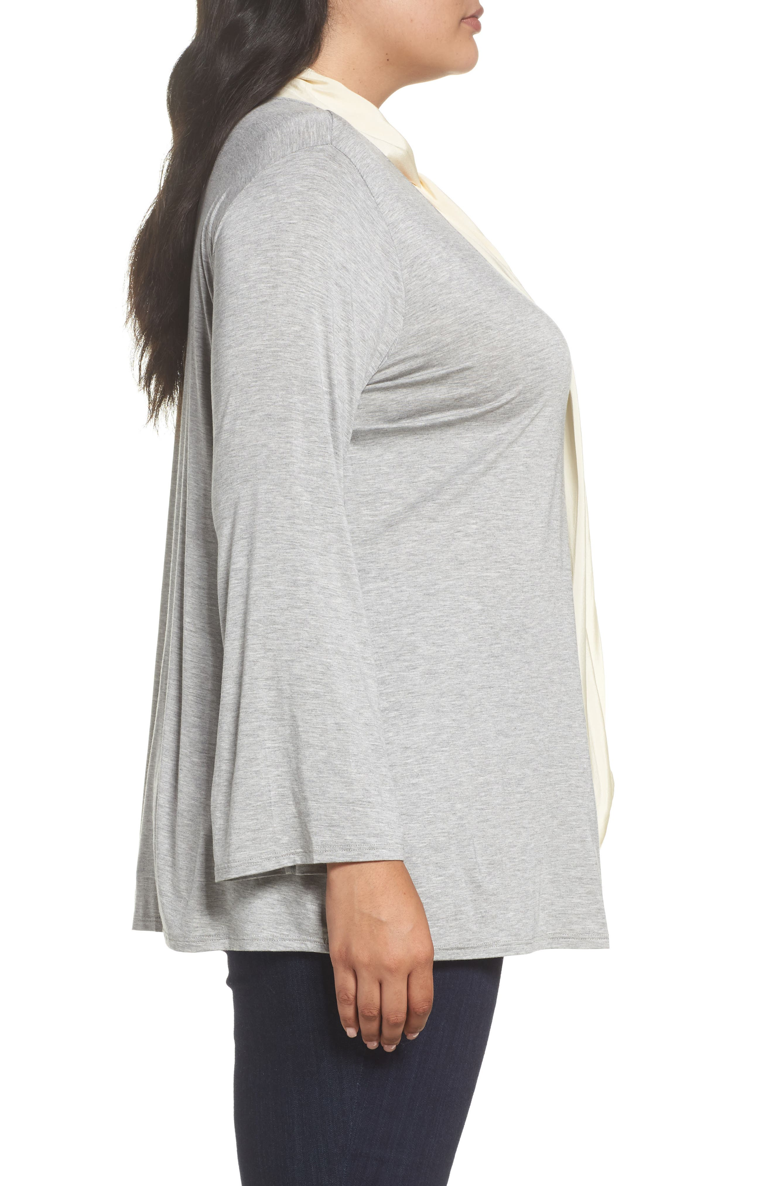 Alternate Image 3  - Three Dots Tie Neck Jersey Top (Plus Size)