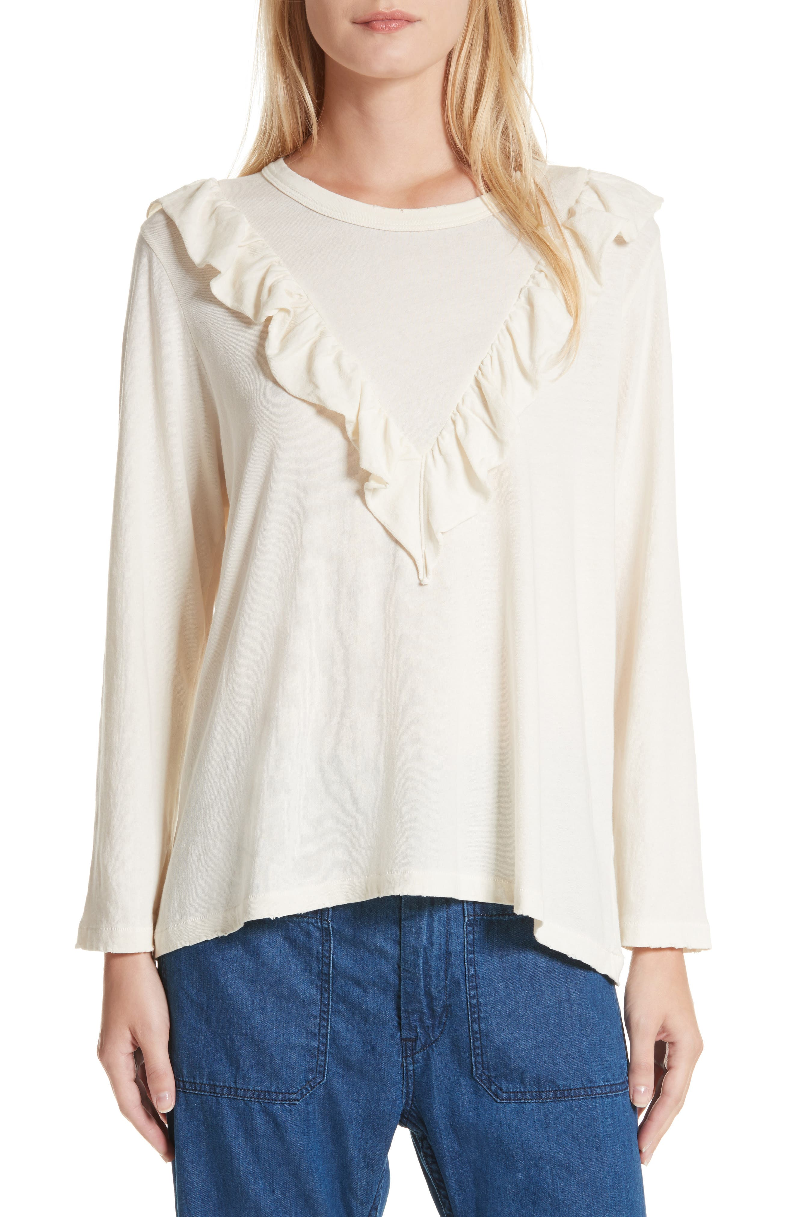 The Tuxedo Ruffle Tee,                             Main thumbnail 1, color,                             Washed White