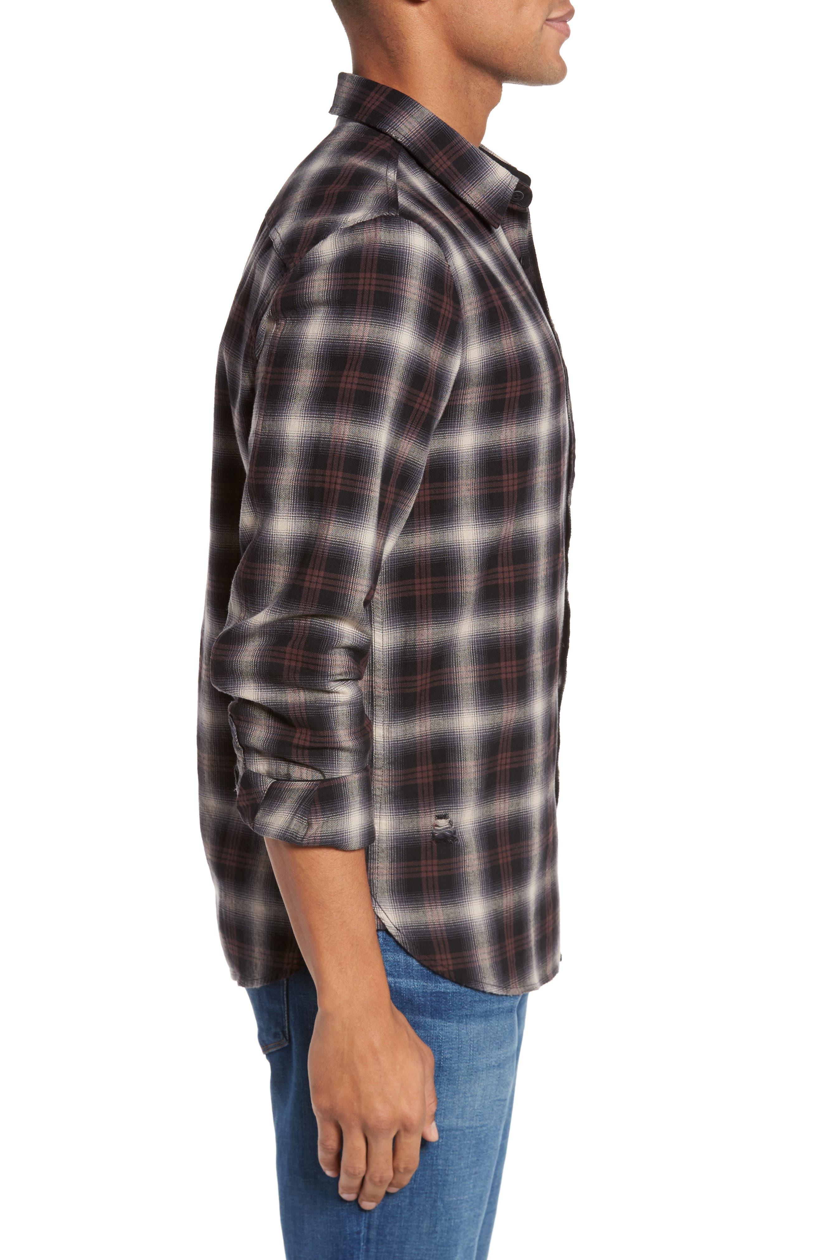 Colton Slim Fit Plaid Sport Shirt,                             Alternate thumbnail 3, color,                             7 Years Beige/ Deep Mahogany