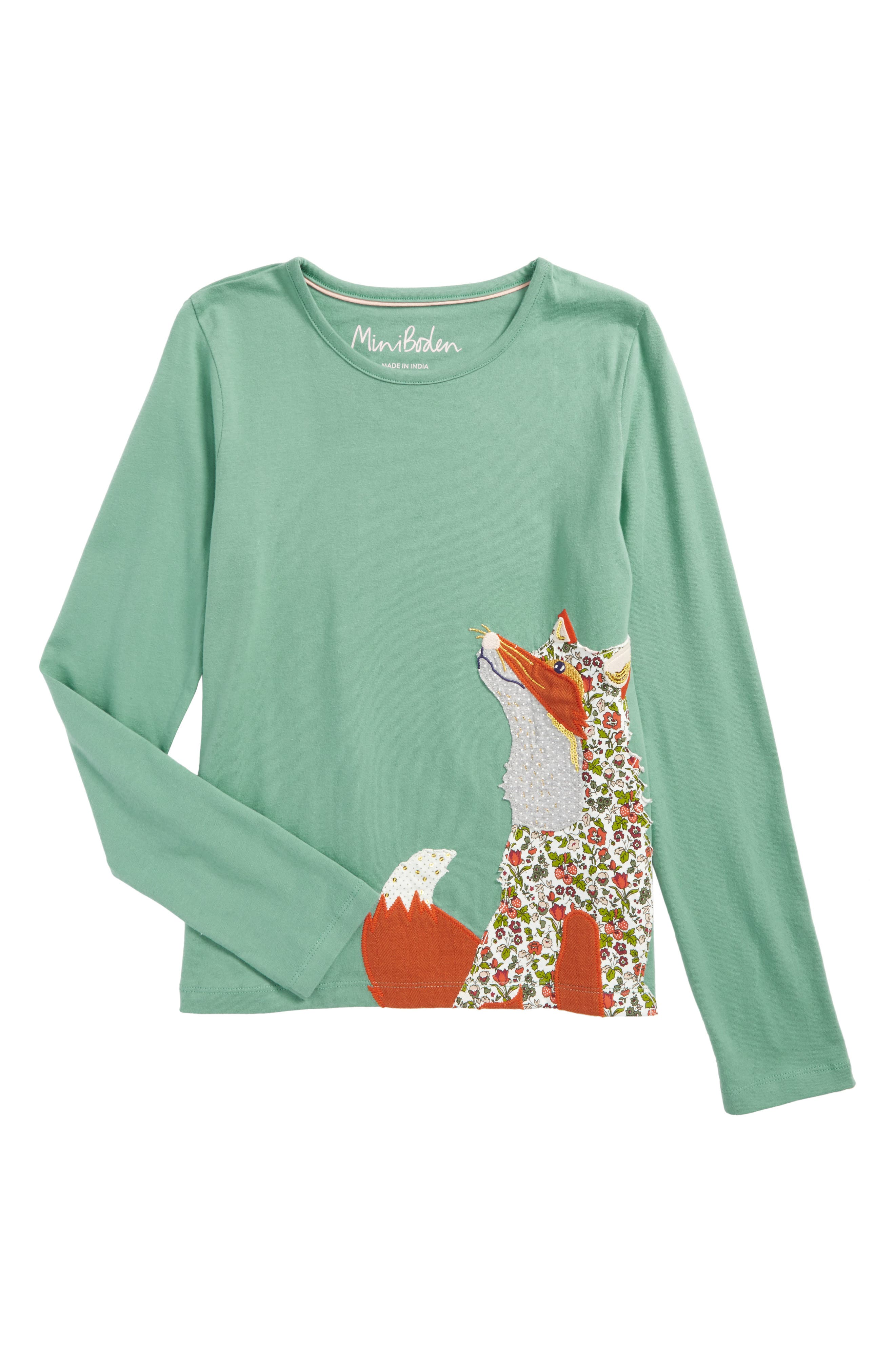 Mini Boden Woodland Appliqué Tee (Toddler Girls, Little Girls & Big Girls)