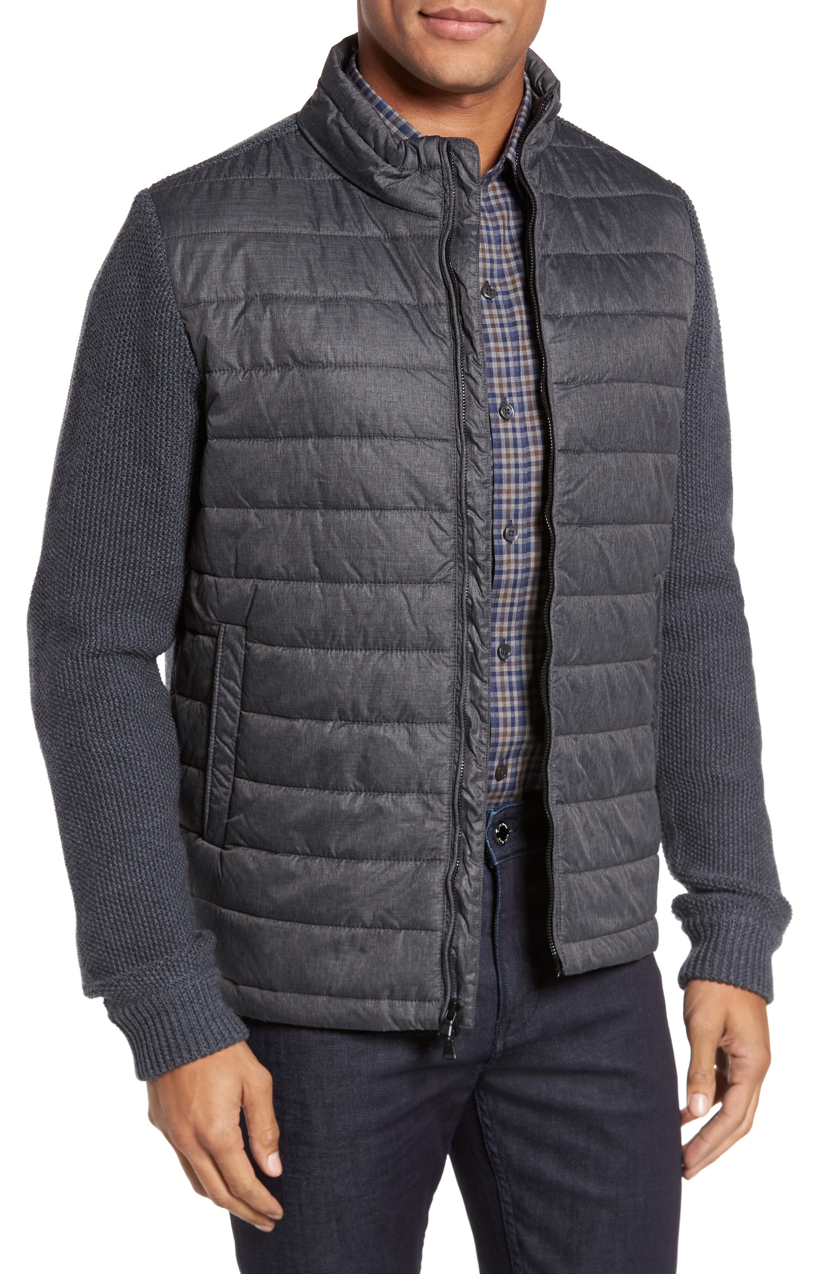Hinman Quilt Front Merino Cardigan,                         Main,                         color, Charcoal