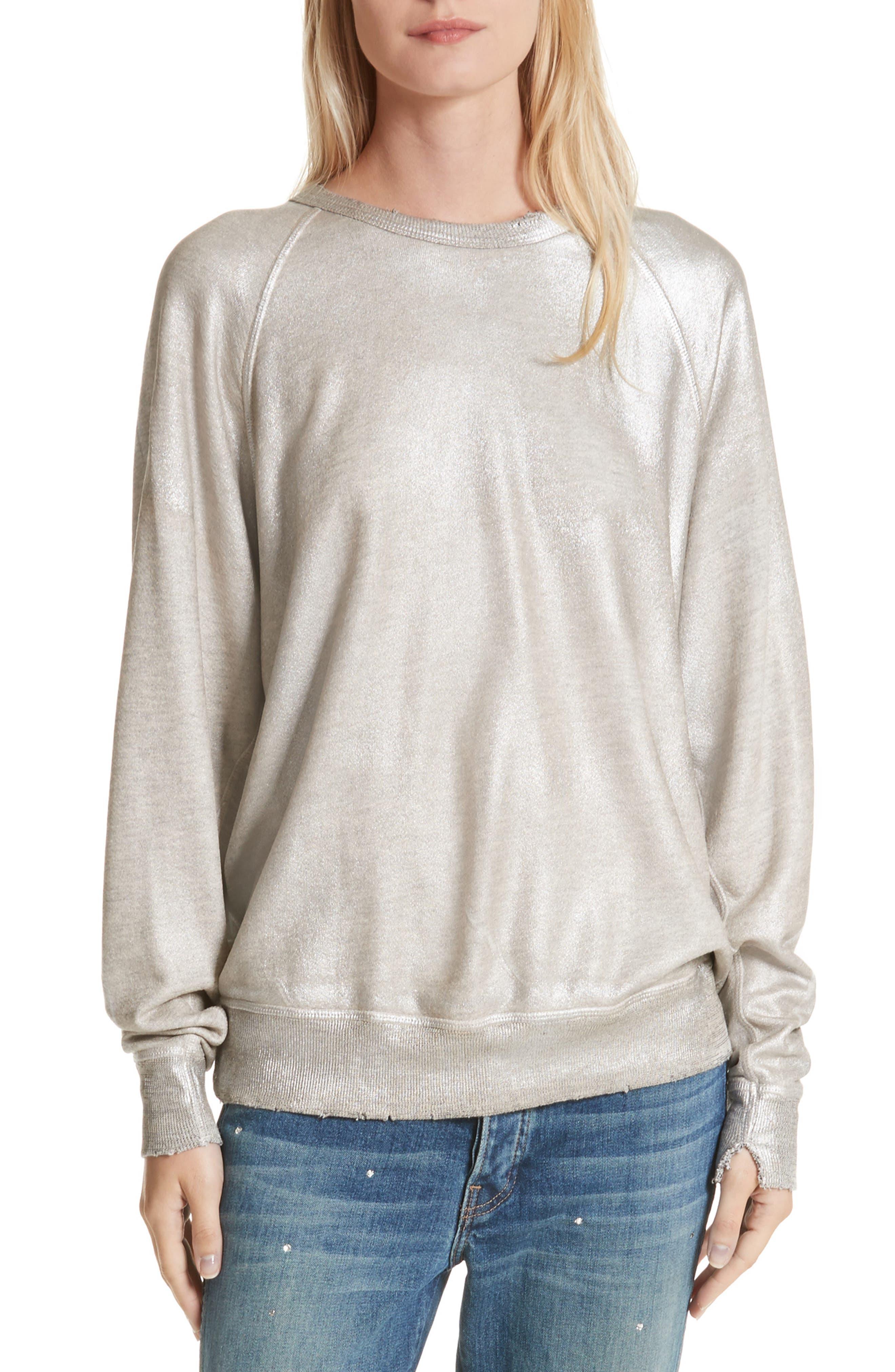 The College Metallic Foil Sweatshirt,                             Main thumbnail 1, color,                             Heather Grey