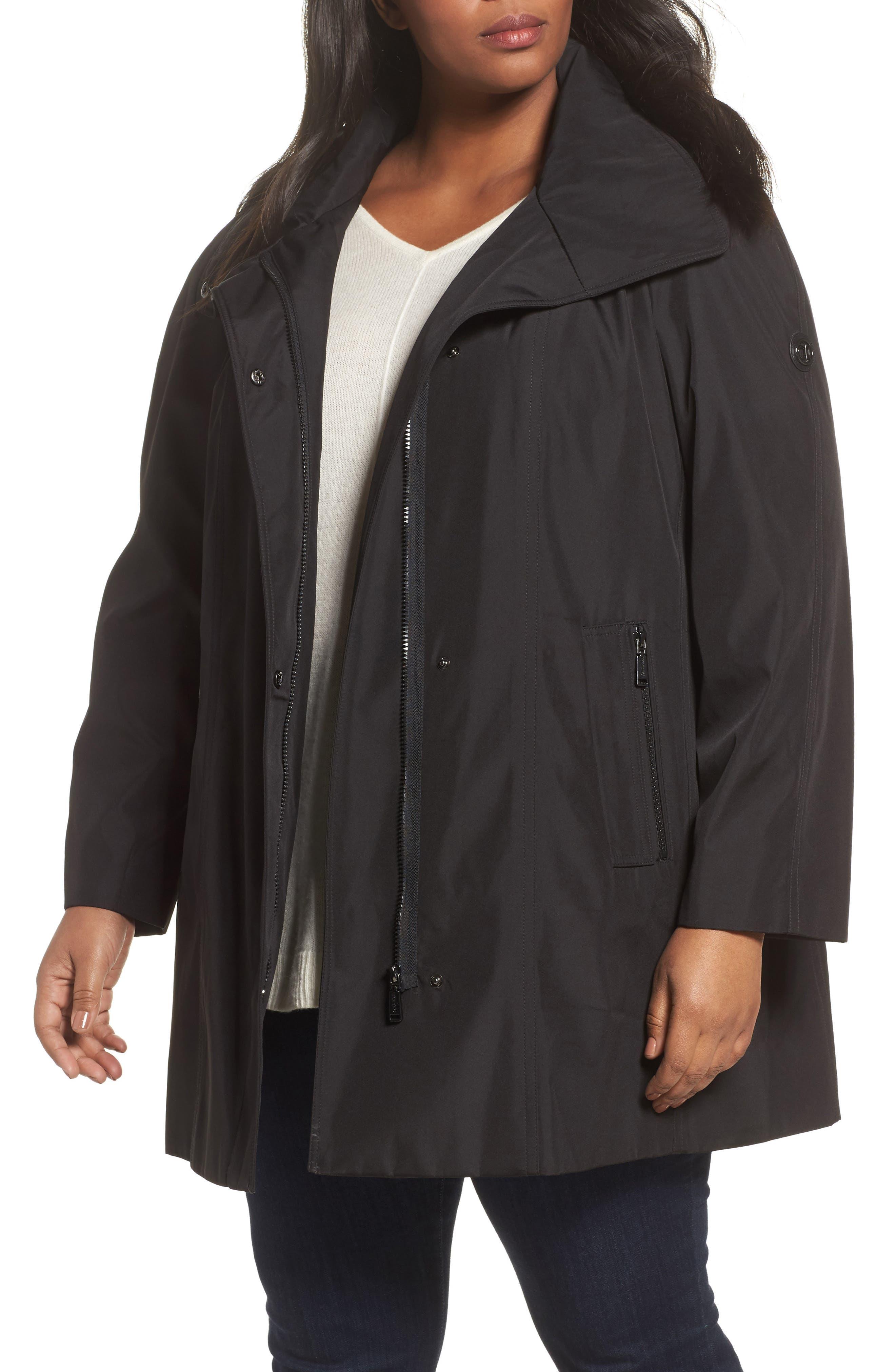 Calvin Klein Asymmetrical Hooded Raincoat (Plus Size)