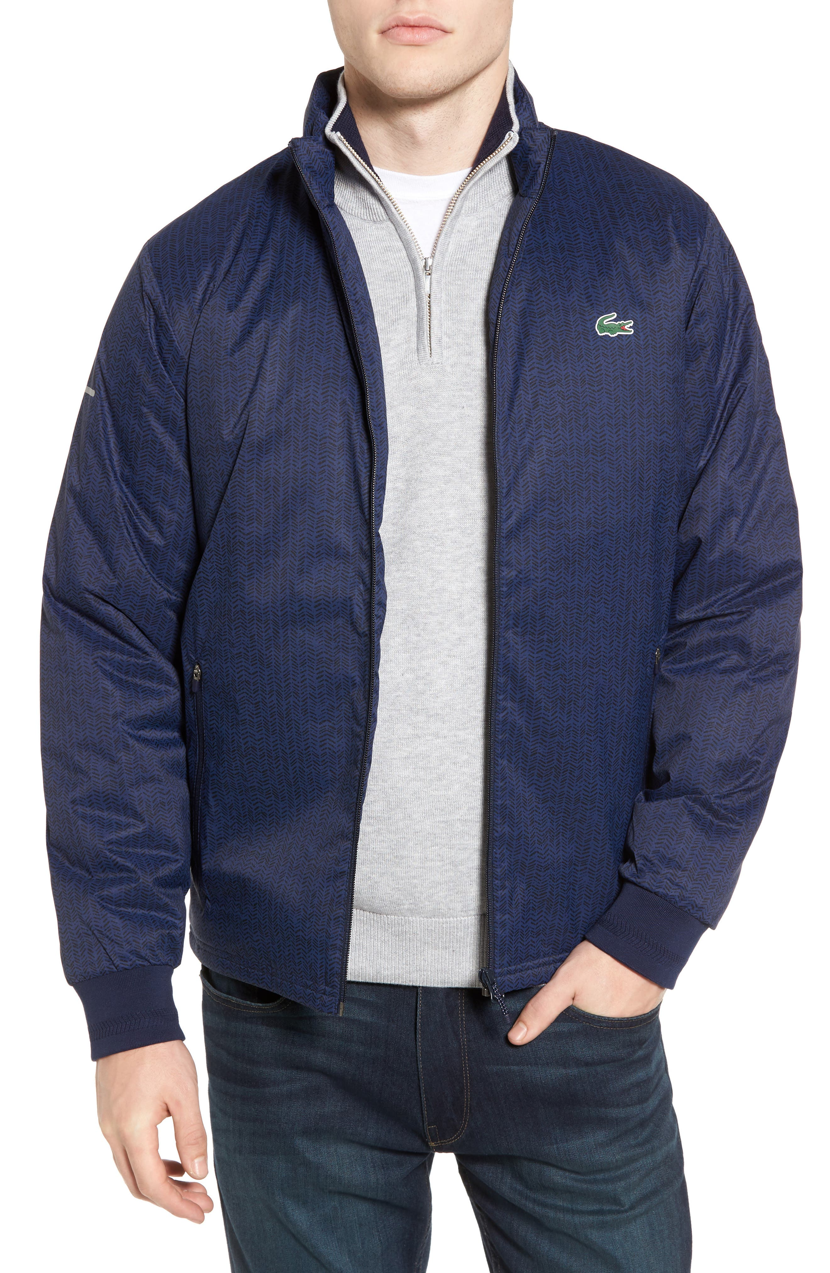 Herringbone Zip-Up Jacket,                             Main thumbnail 1, color,                             Navy Blue/ Navy Blue