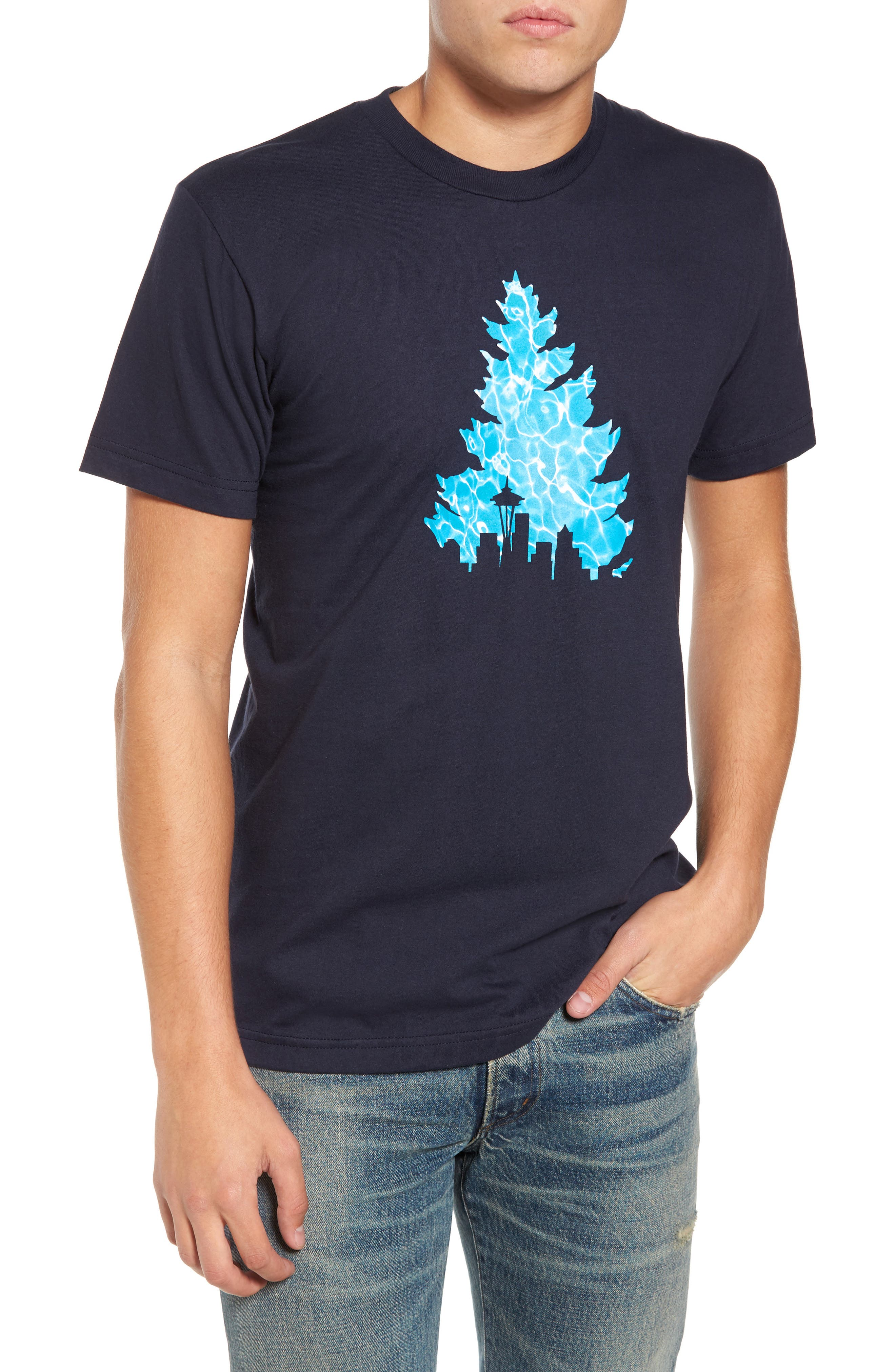 Johnny Tree Pool Graphic T-Shirt,                             Main thumbnail 1, color,                             Navy