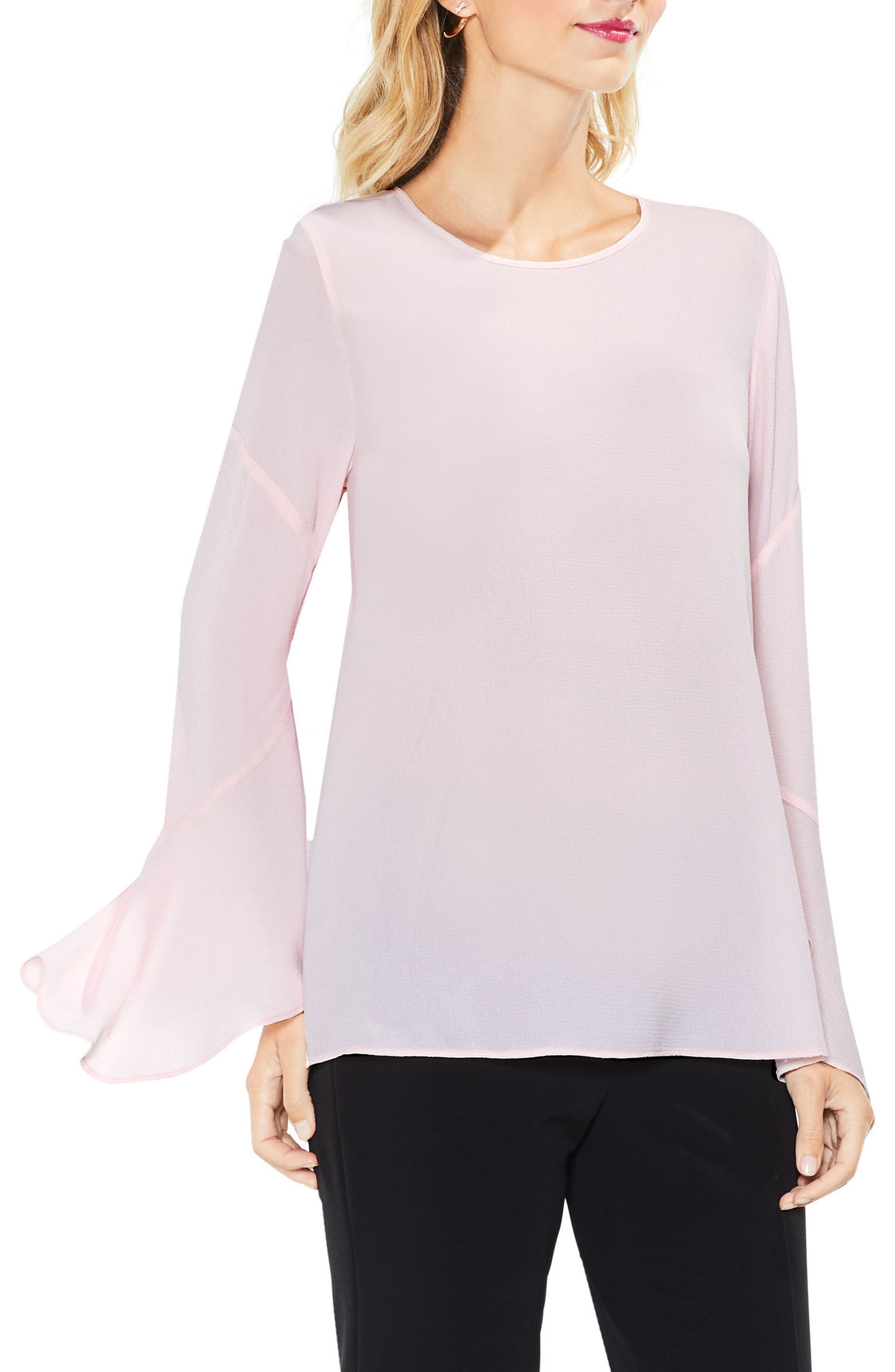 Flared Cuff Blouse,                         Main,                         color, Opal Rose