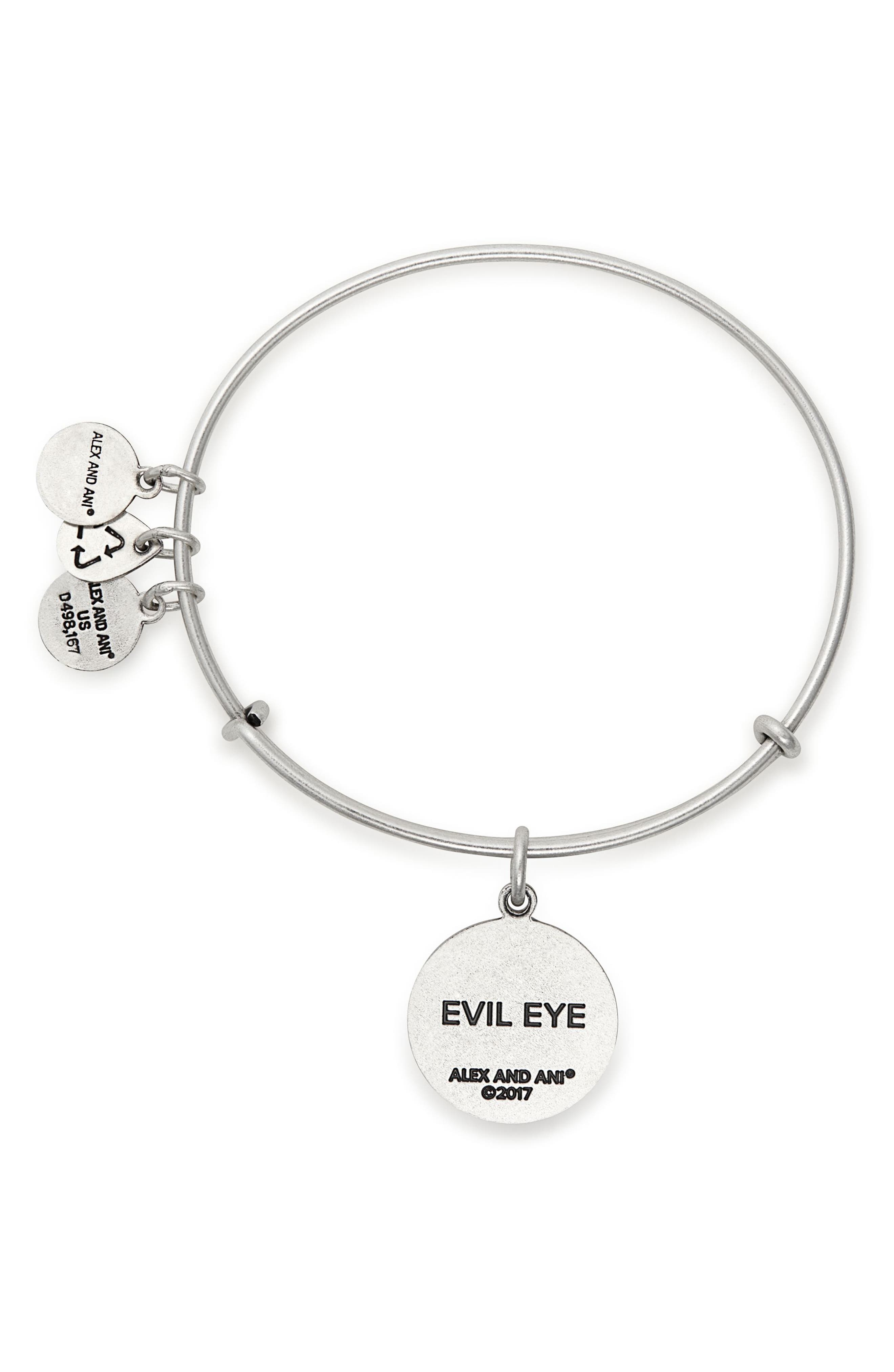 Evil Eye Adjustable Wire Bangle,                             Alternate thumbnail 2, color,                             Silver