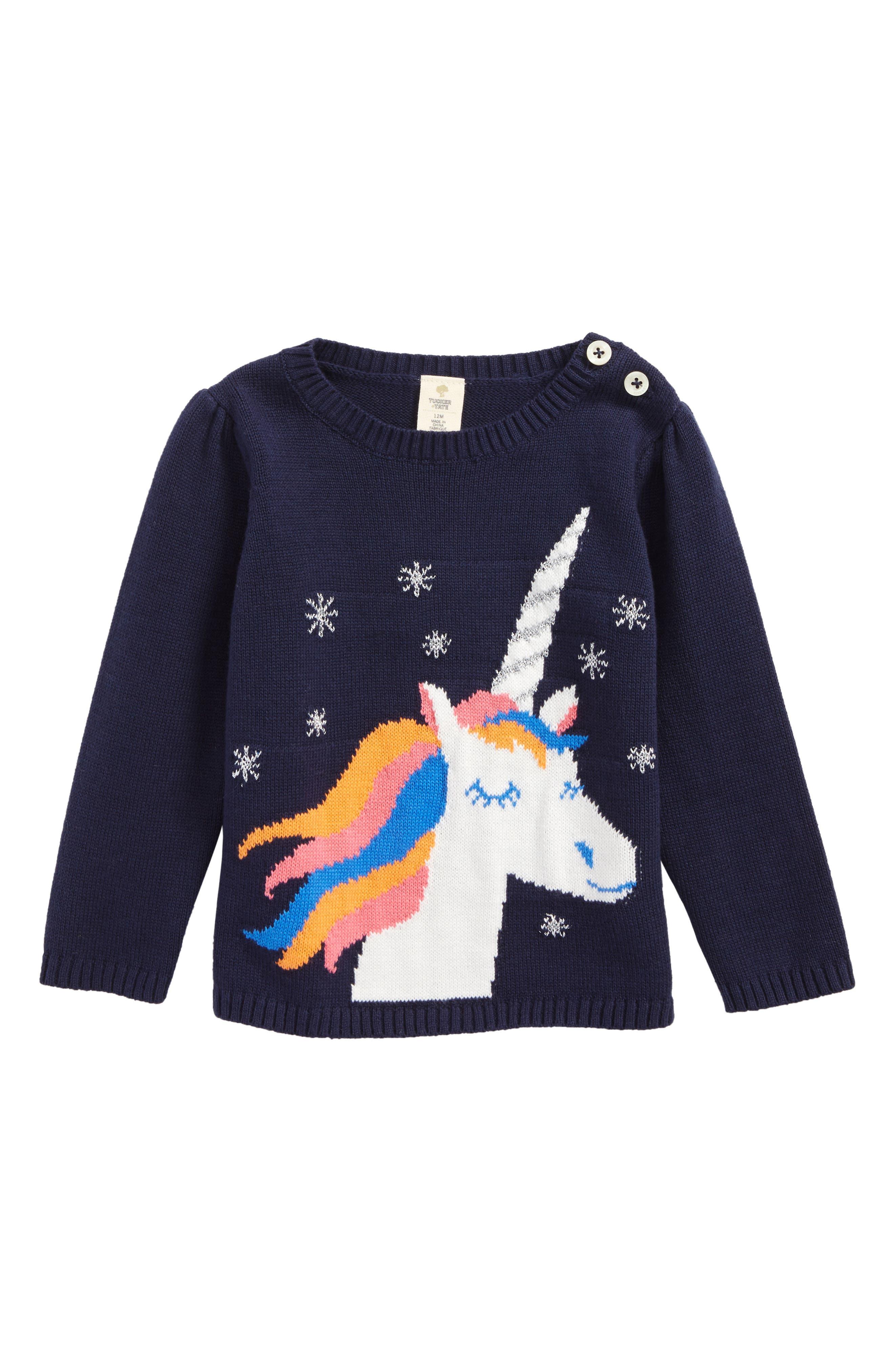 Alternate Image 1 Selected - Tucker + Tate Unicorn Sweater (Baby Girls)