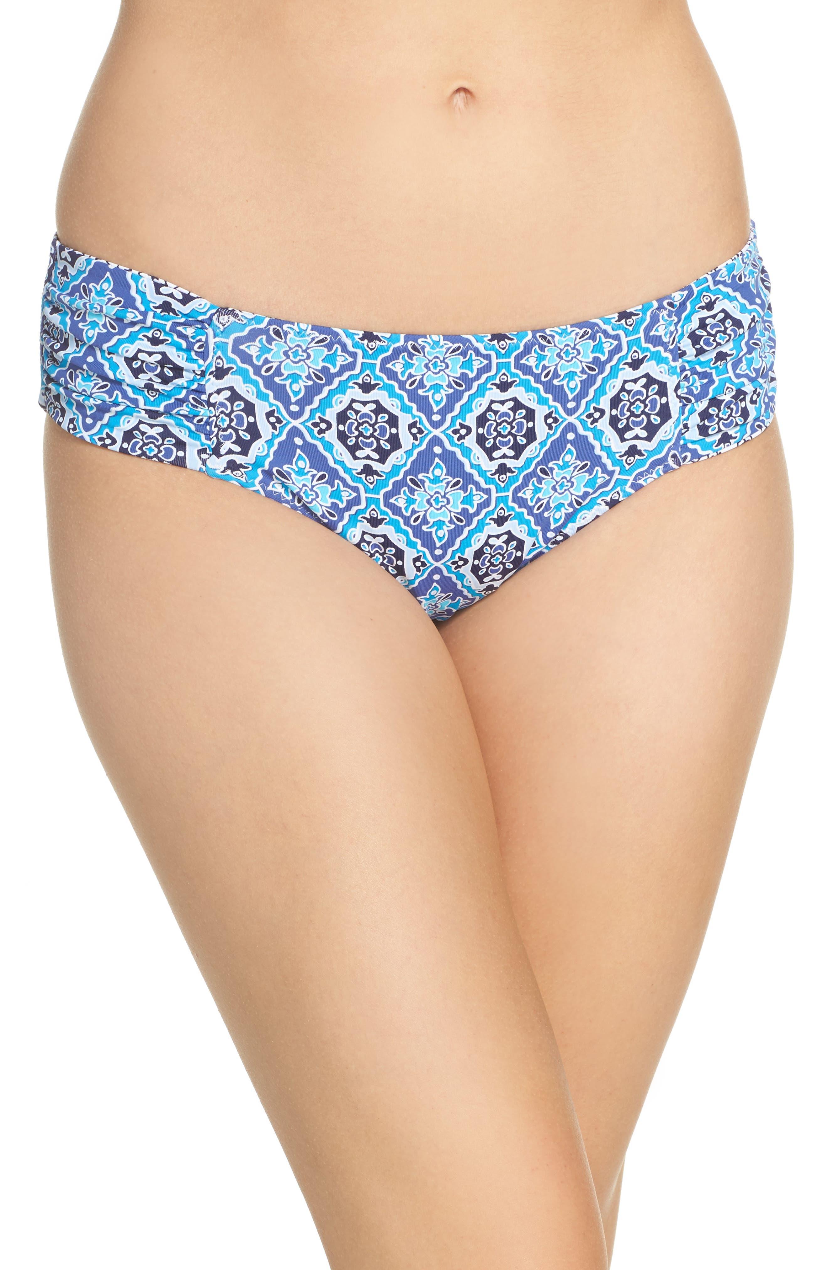 Tika Tiles Reversible Bikini Bottoms,                         Main,                         color, Dark Sanibel