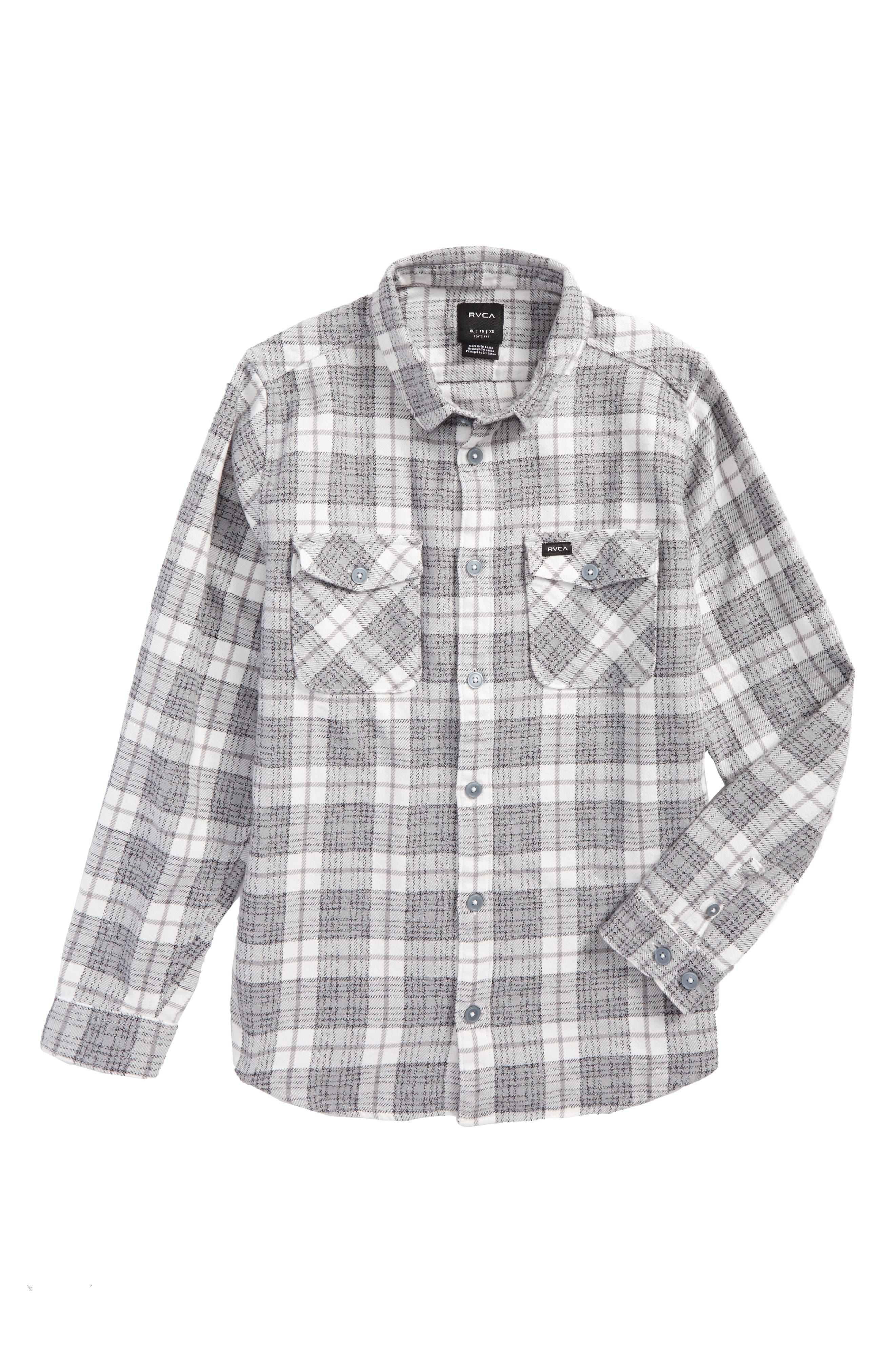 That'll Work Plaid Flannel Shirt,                         Main,                         color, Antique White