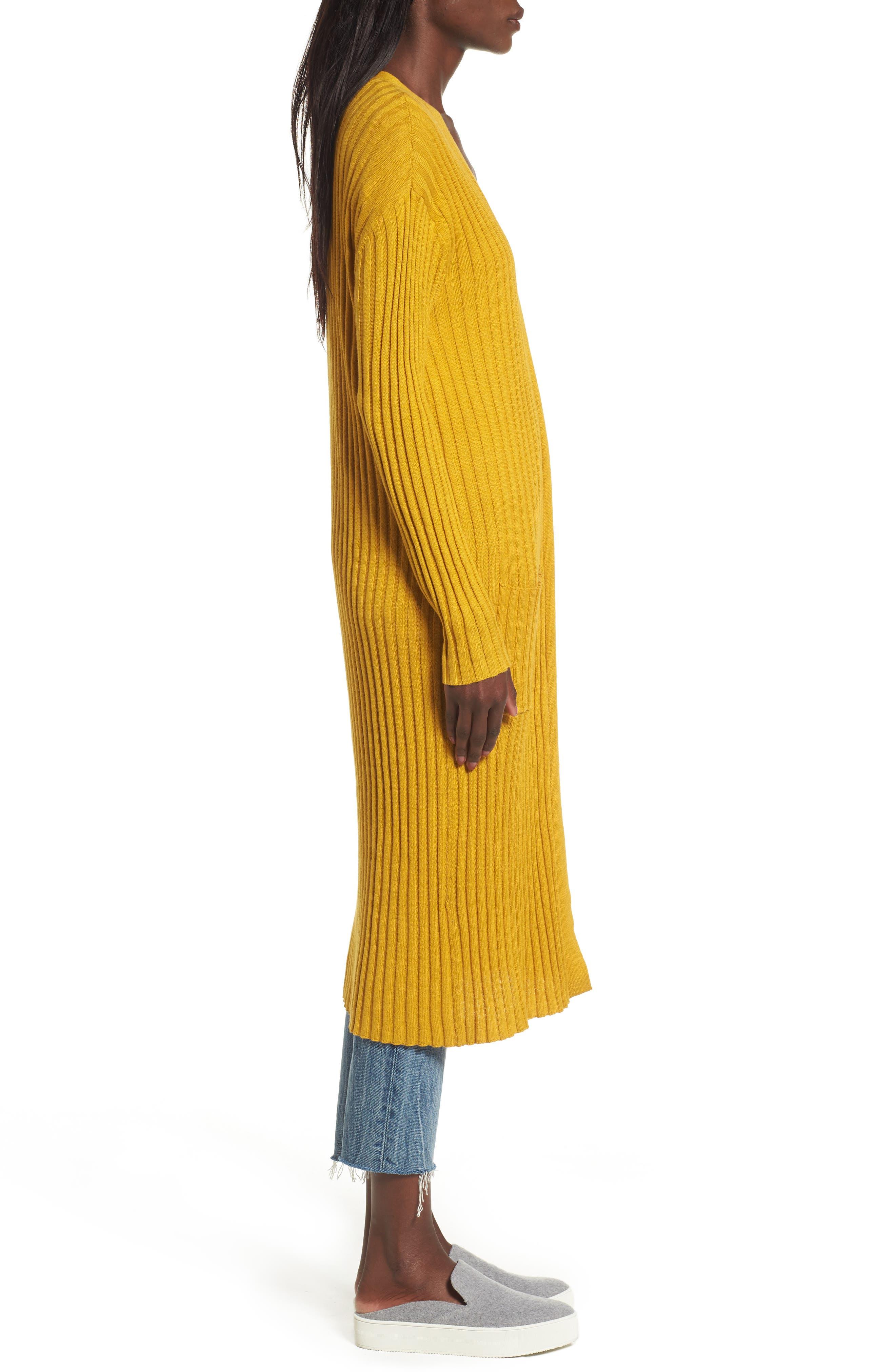 Rib Knit Midi Cardigan,                             Alternate thumbnail 5, color,                             Olive Arrowwood