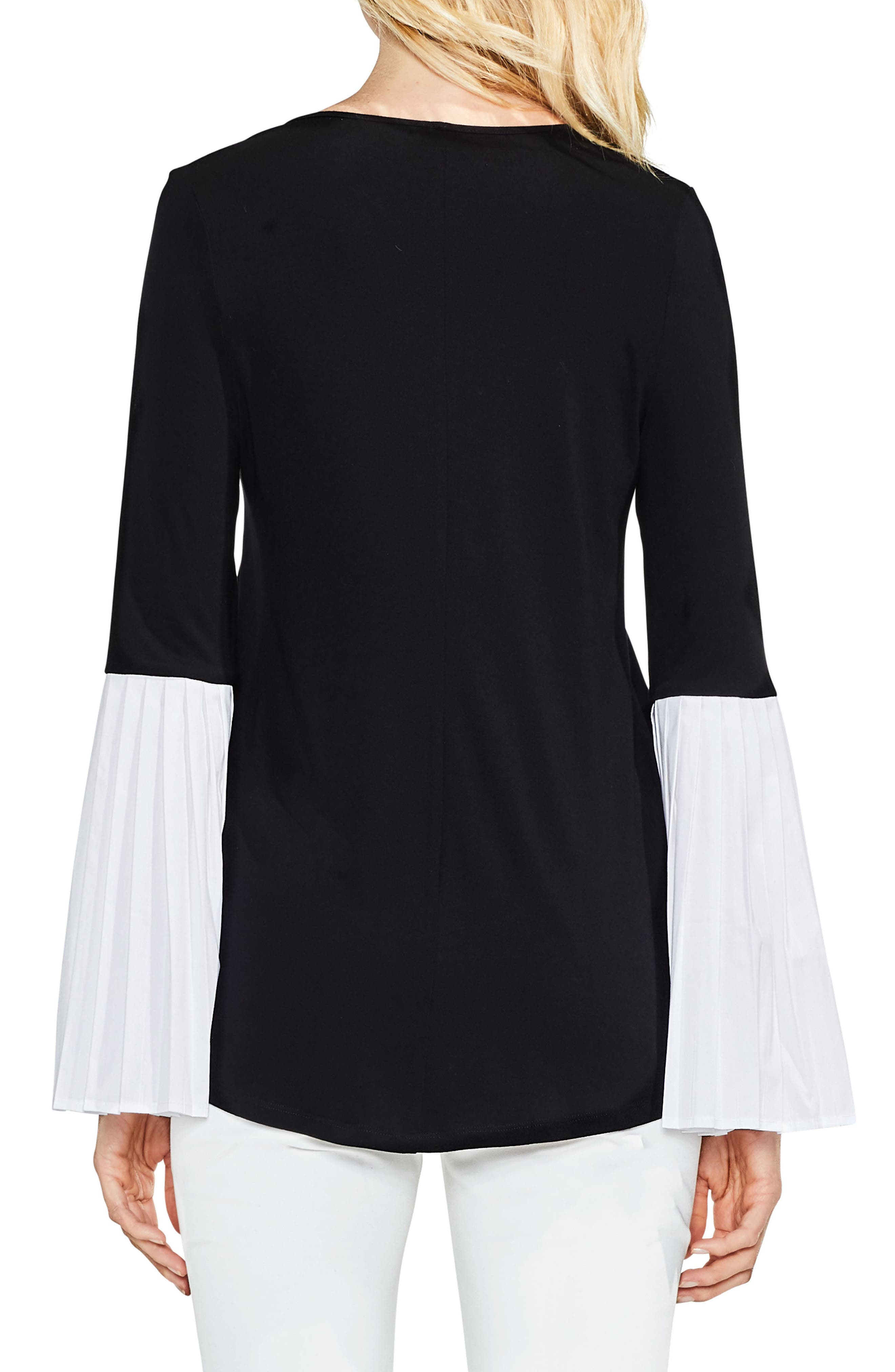 Alternate Image 2  - Vince Camuto Pleated Bell Sleeve Mix Media Top