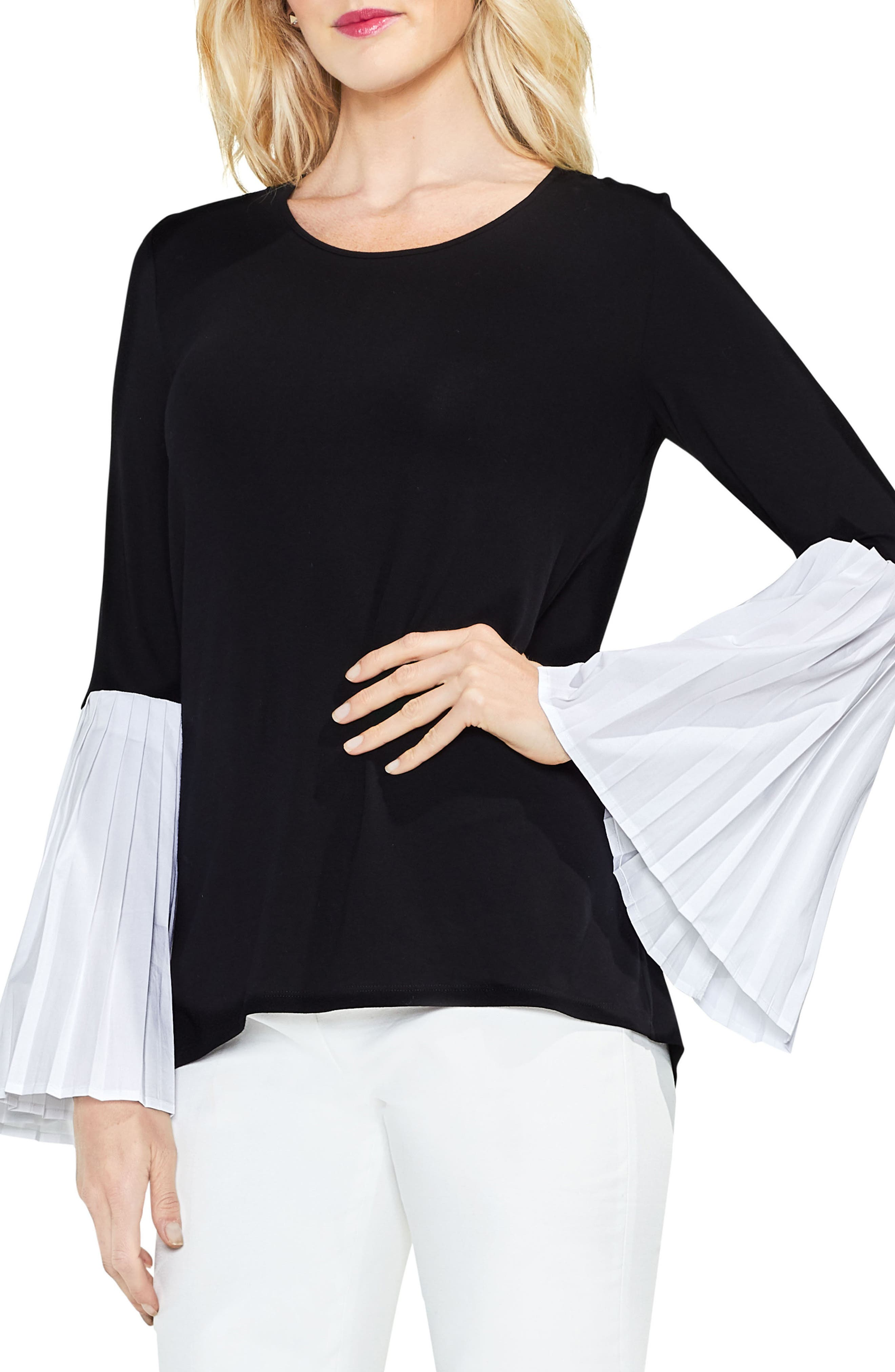 Pleated Bell Sleeve Mix Media Top,                         Main,                         color, Rich Black