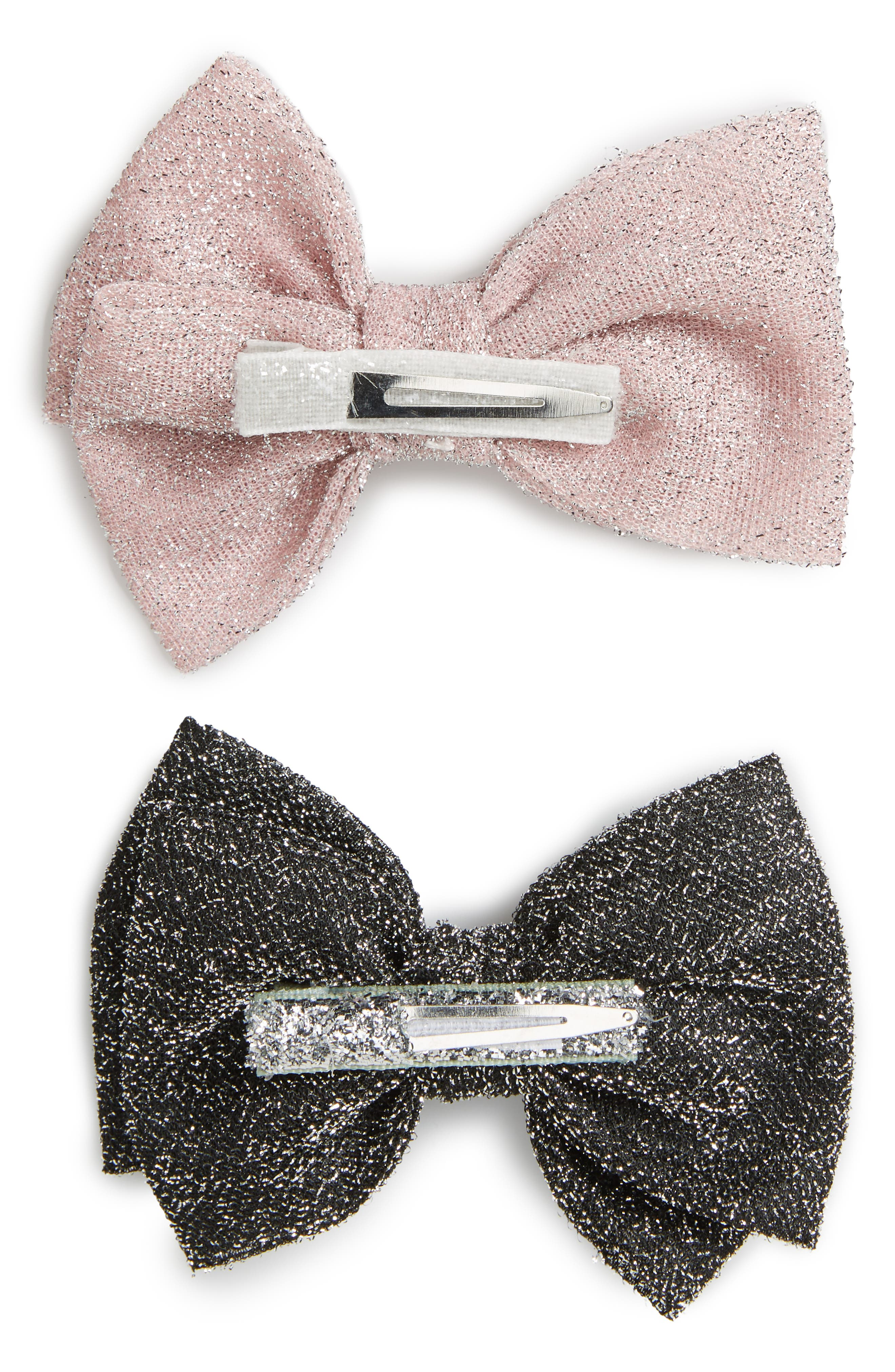Alternate Image 2  - PLH Bows & Laces Set of 2 Glitter Bows (Baby Girls)
