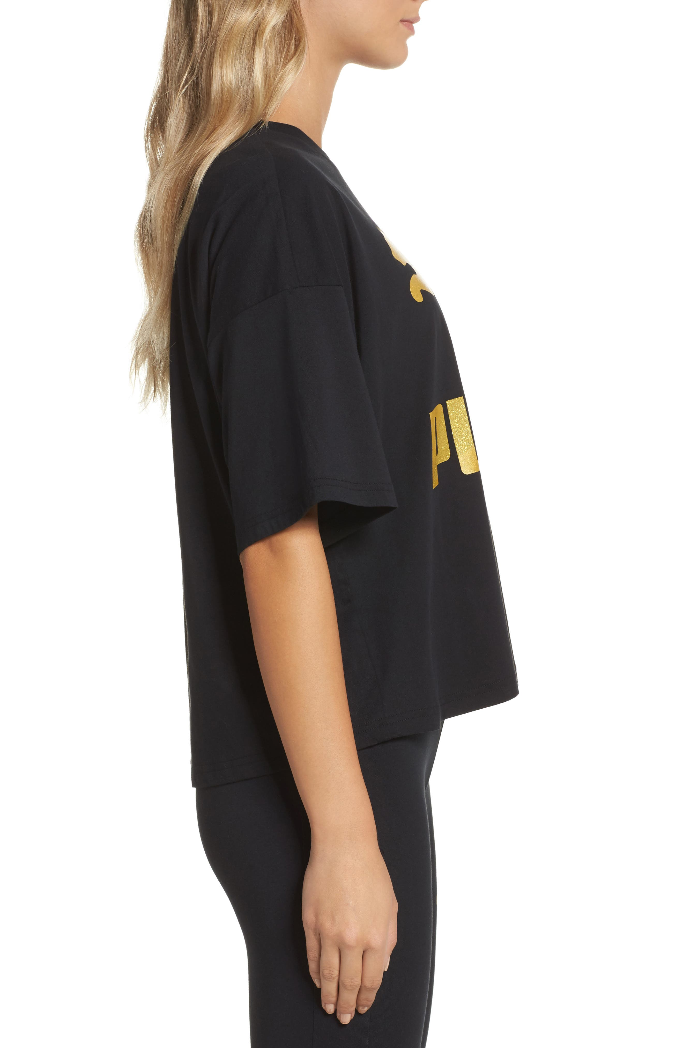 Glam Oversize Tee,                             Alternate thumbnail 3, color,                             Puma Black-Gold Glitter