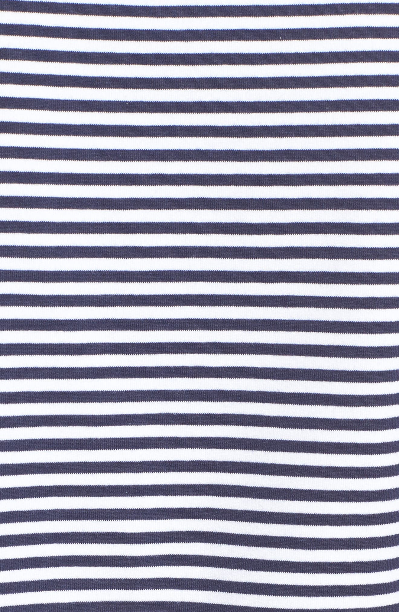 Ruched Front Tunic Sweatshirt,                             Alternate thumbnail 5, color,                             Navy- White Stripe
