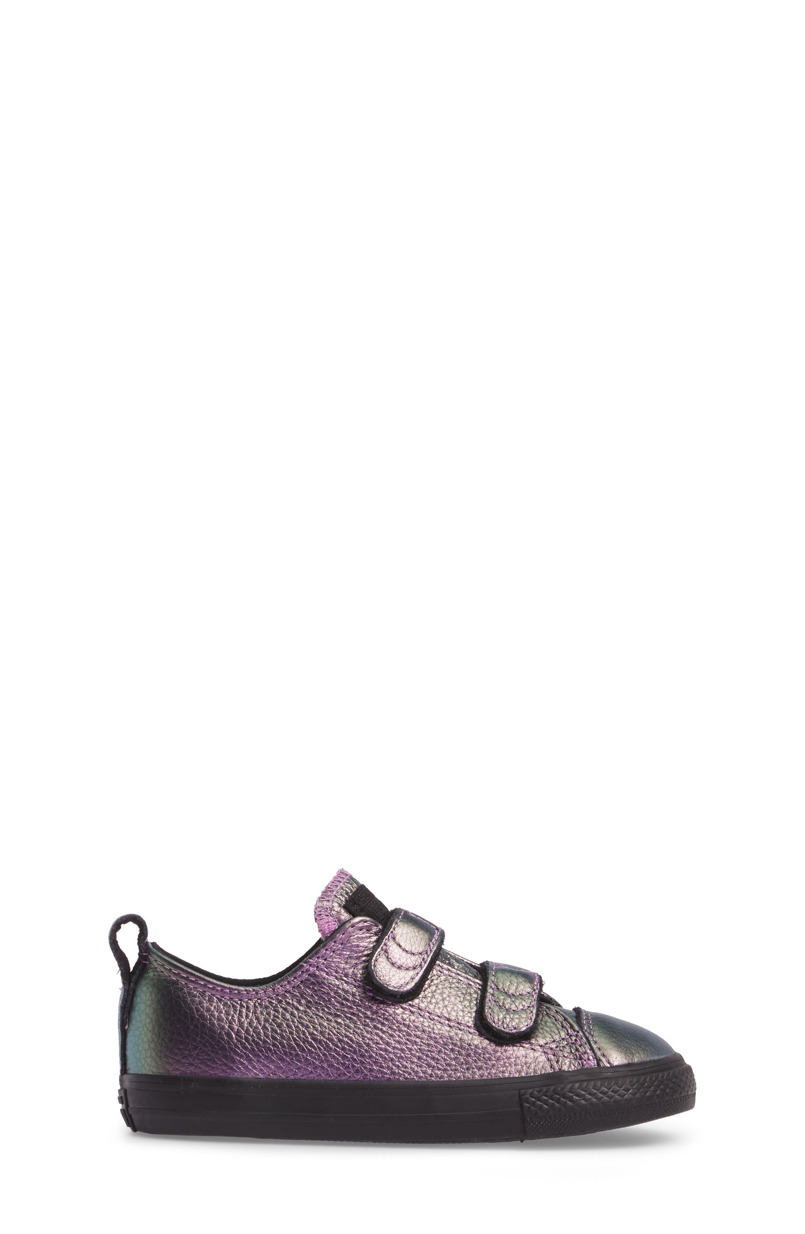 Chuck Taylor<sup>®</sup> All Star<sup>®</sup> Iridescent Leather Low Top Sneaker,                             Alternate thumbnail 3, color,                             Violet Leather