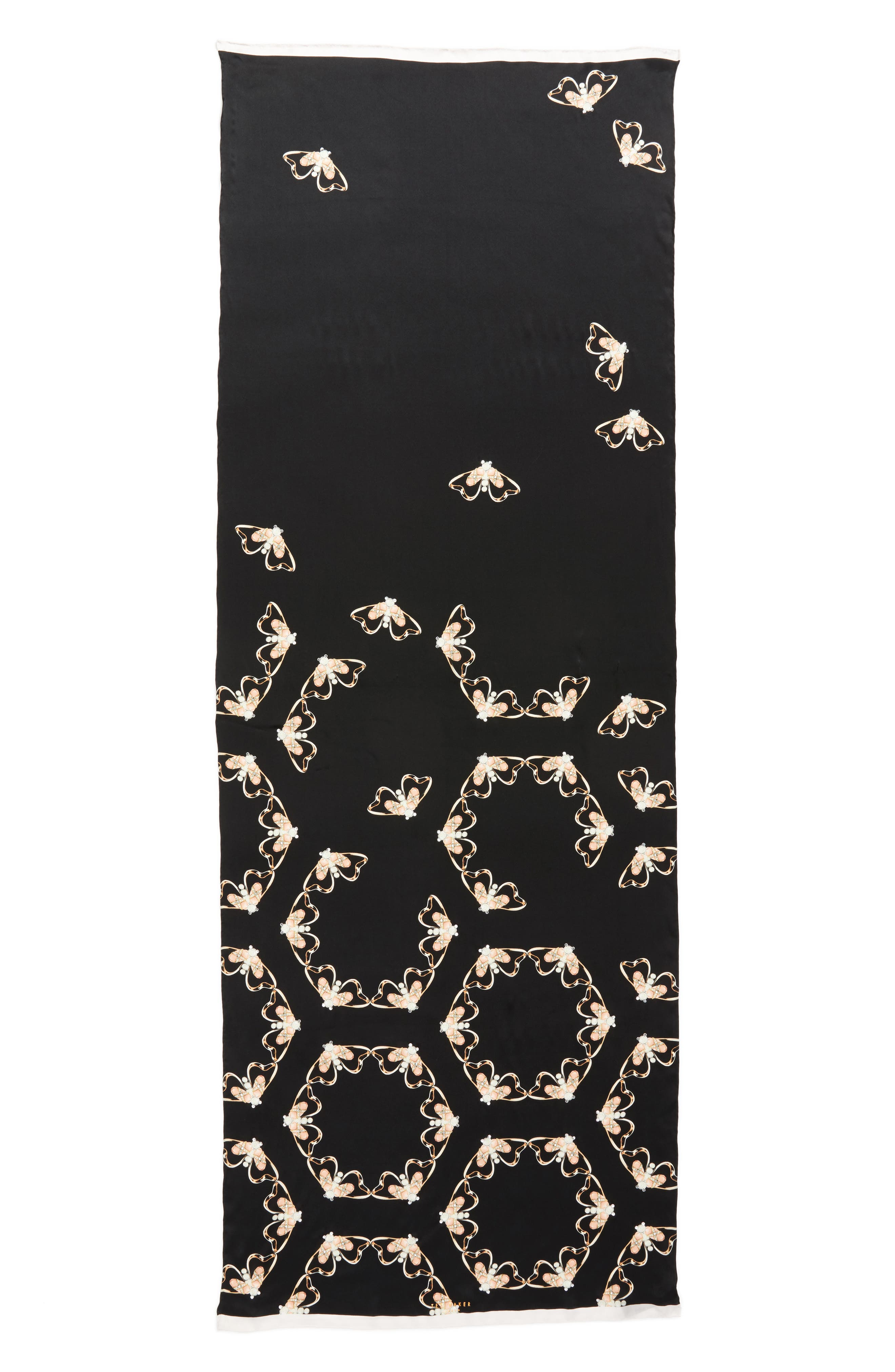 Queen Bee Long Silk Scarf,                             Alternate thumbnail 3, color,                             00-Black