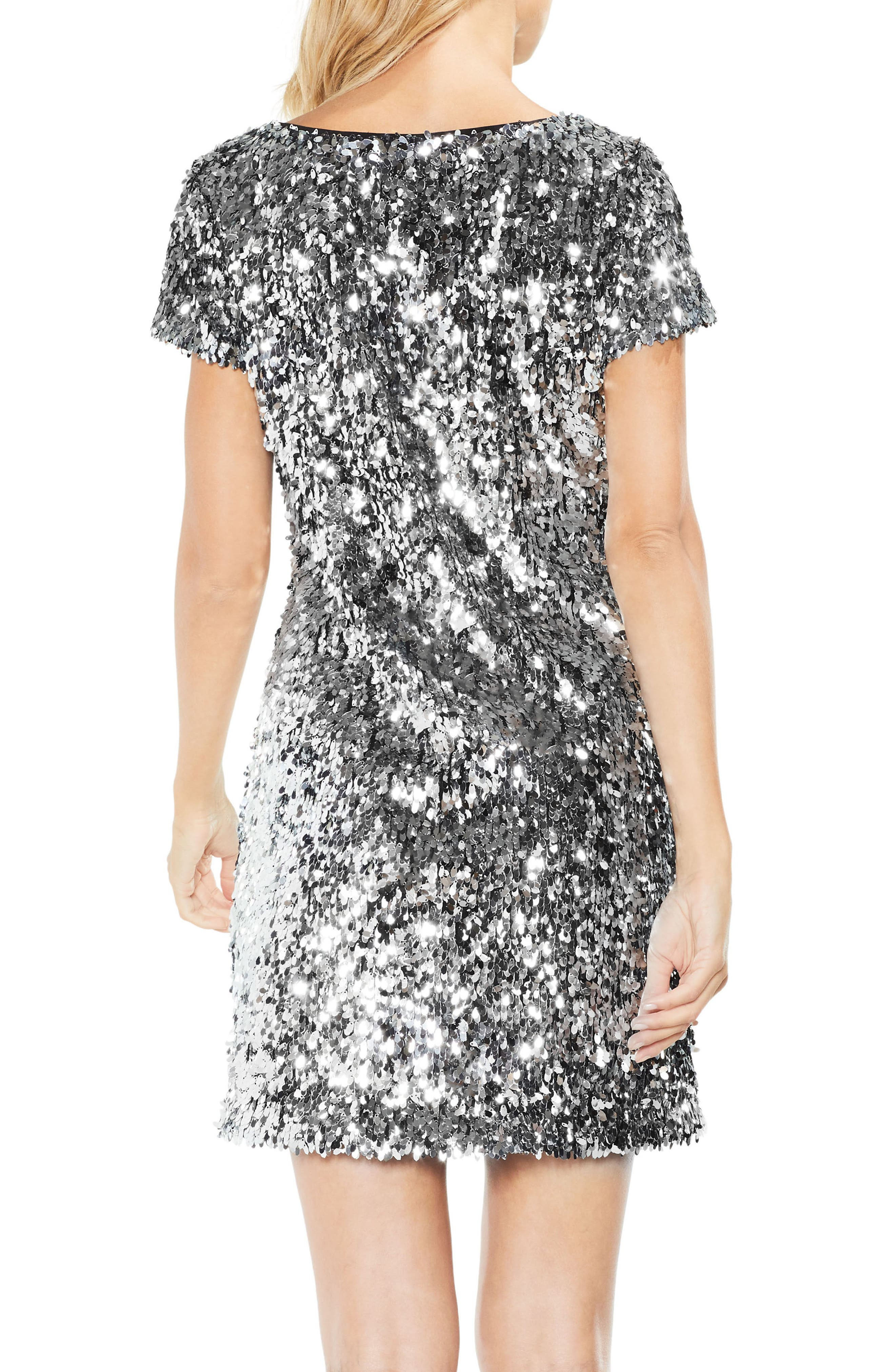 Allover Sequin Dress,                             Alternate thumbnail 2, color,                             Chrome