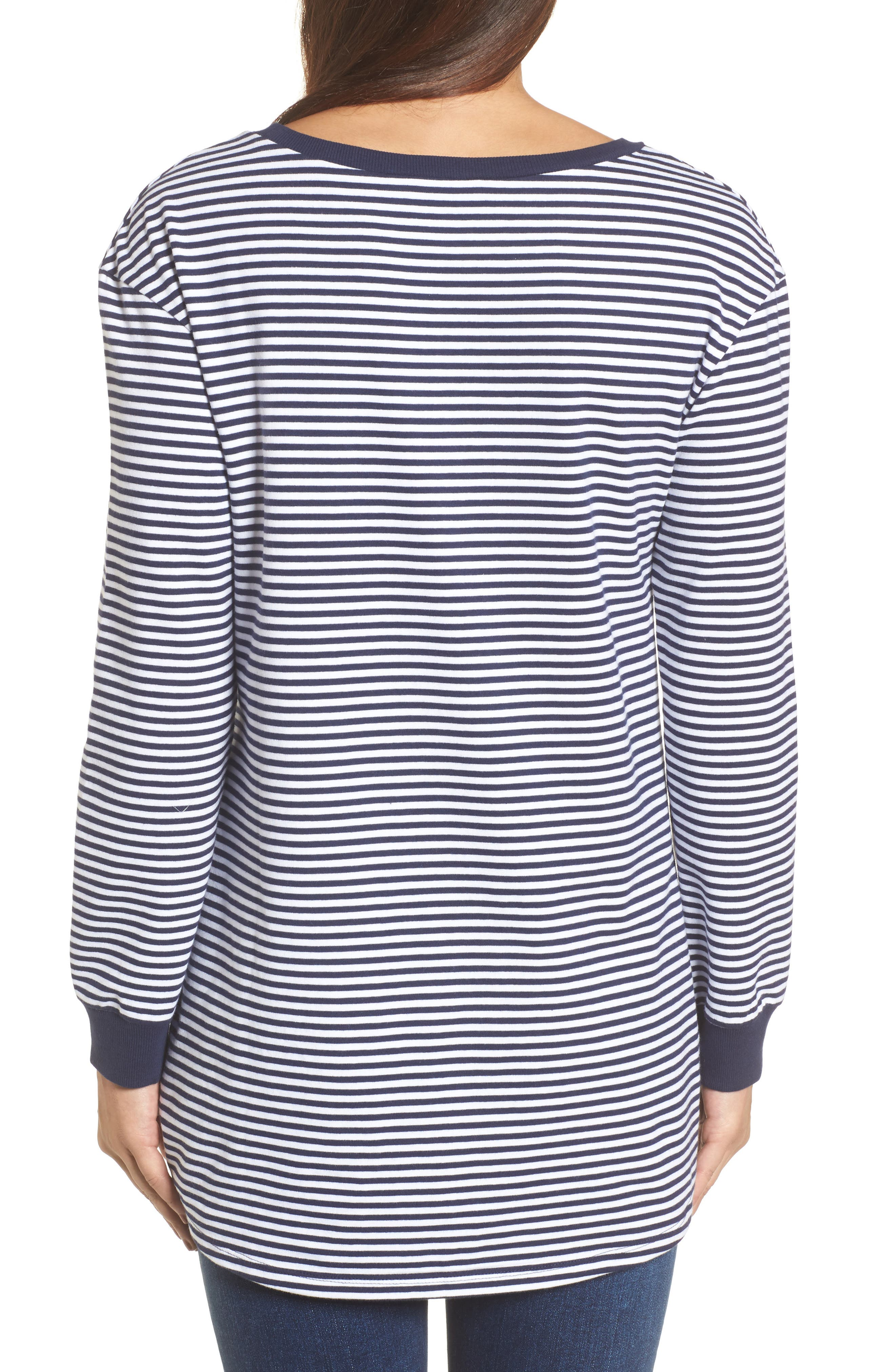 Ruched Front Tunic Sweatshirt,                             Alternate thumbnail 2, color,                             Navy- White Stripe