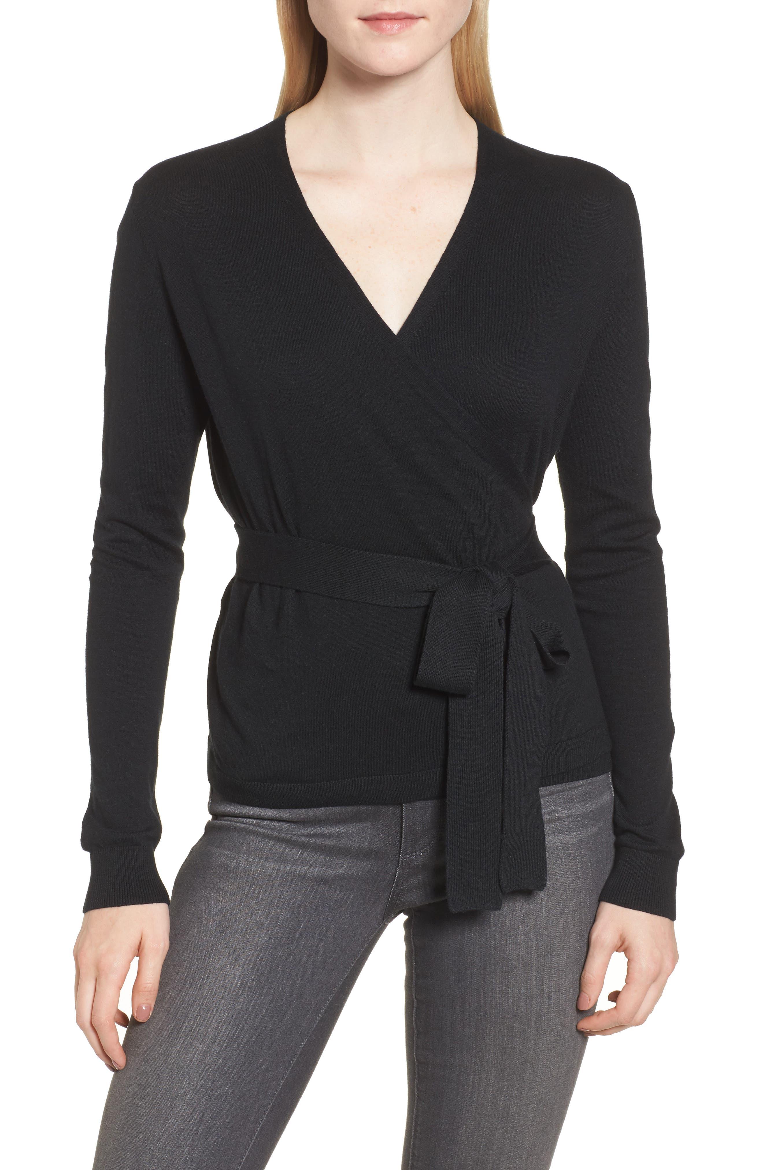 Ballet Wrap Sweater,                         Main,                         color, Black