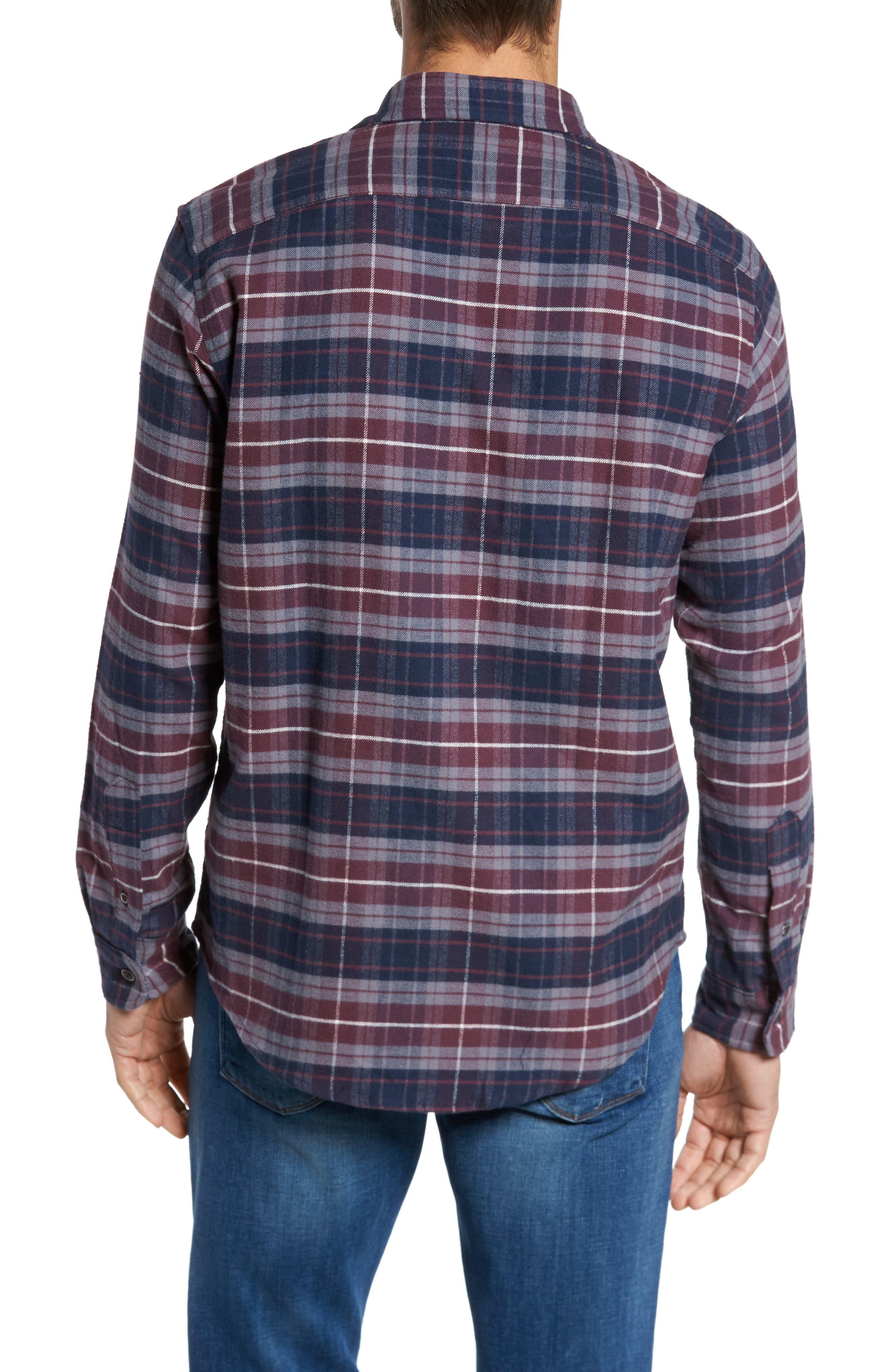 Plaid Flannel Sport Shirt,                             Alternate thumbnail 2, color,                             Raspberry Fudge Trail Plaid